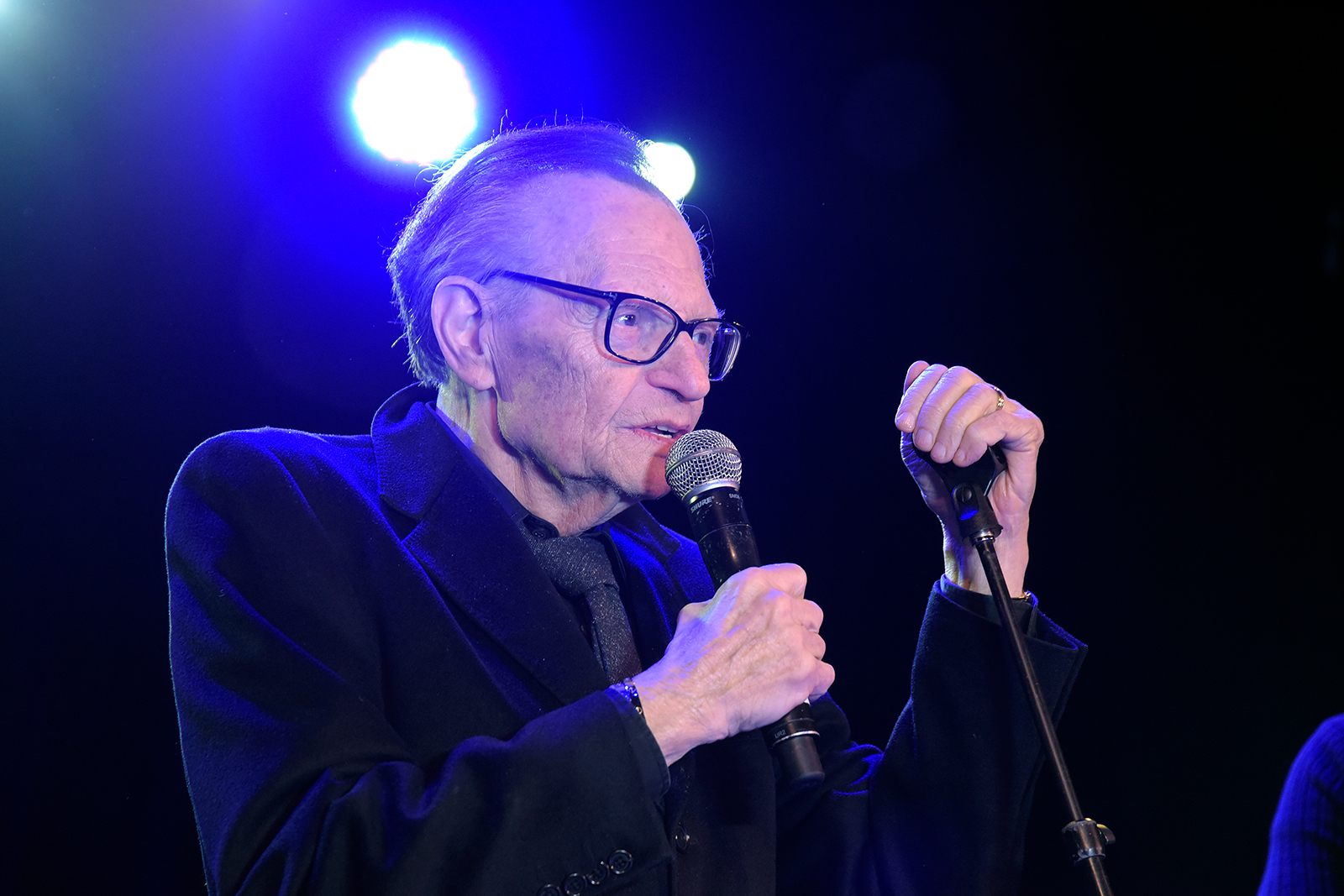 Larry King speaks during the 5th annual The Soirée gala at The Roxy Theatre in West Hollywood, California, on February 09, 2019.
