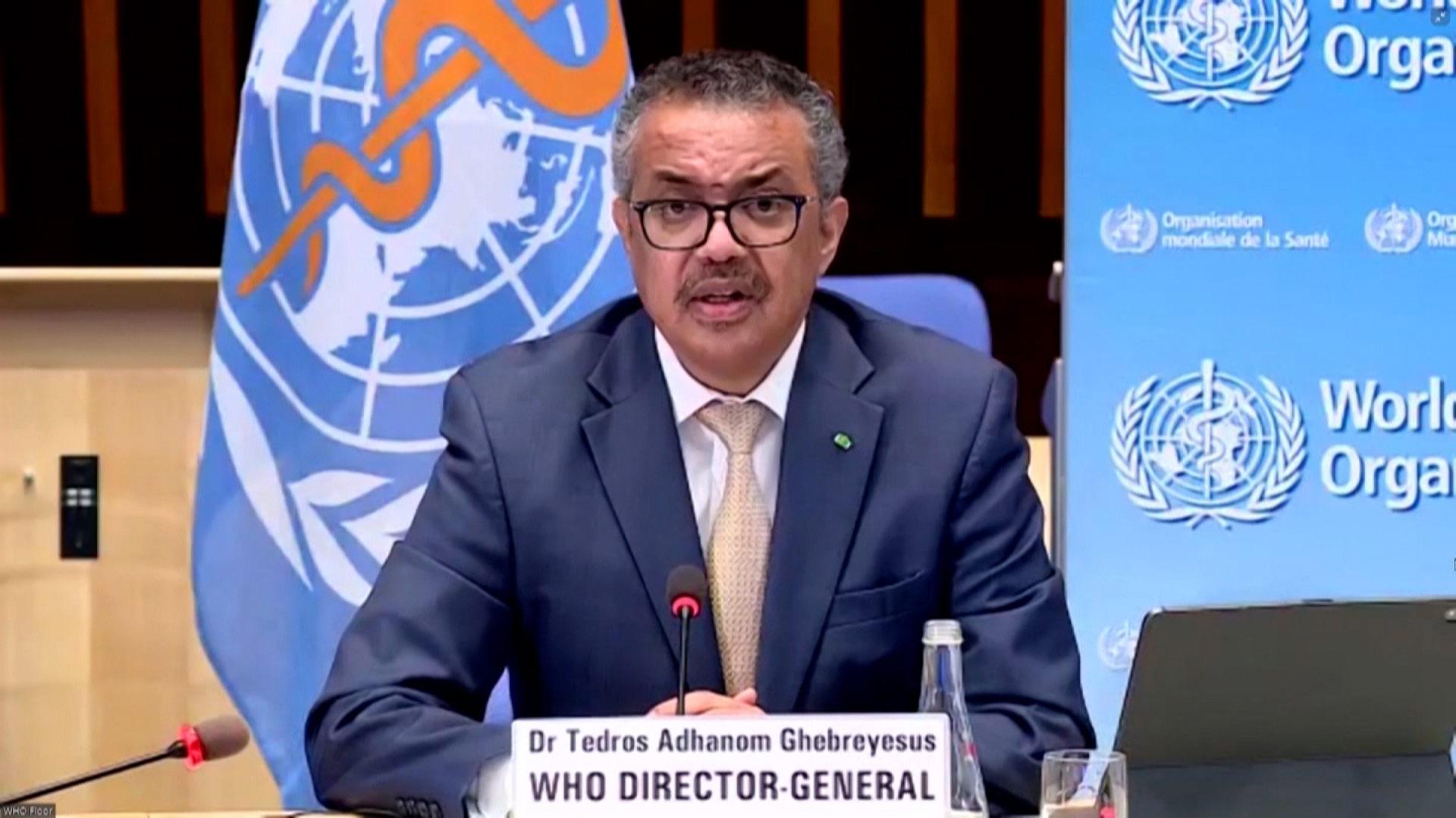 World Health Organization Director General Tedros Adhanom Ghebreyesus speaks during a press conference on Monday, March 29.