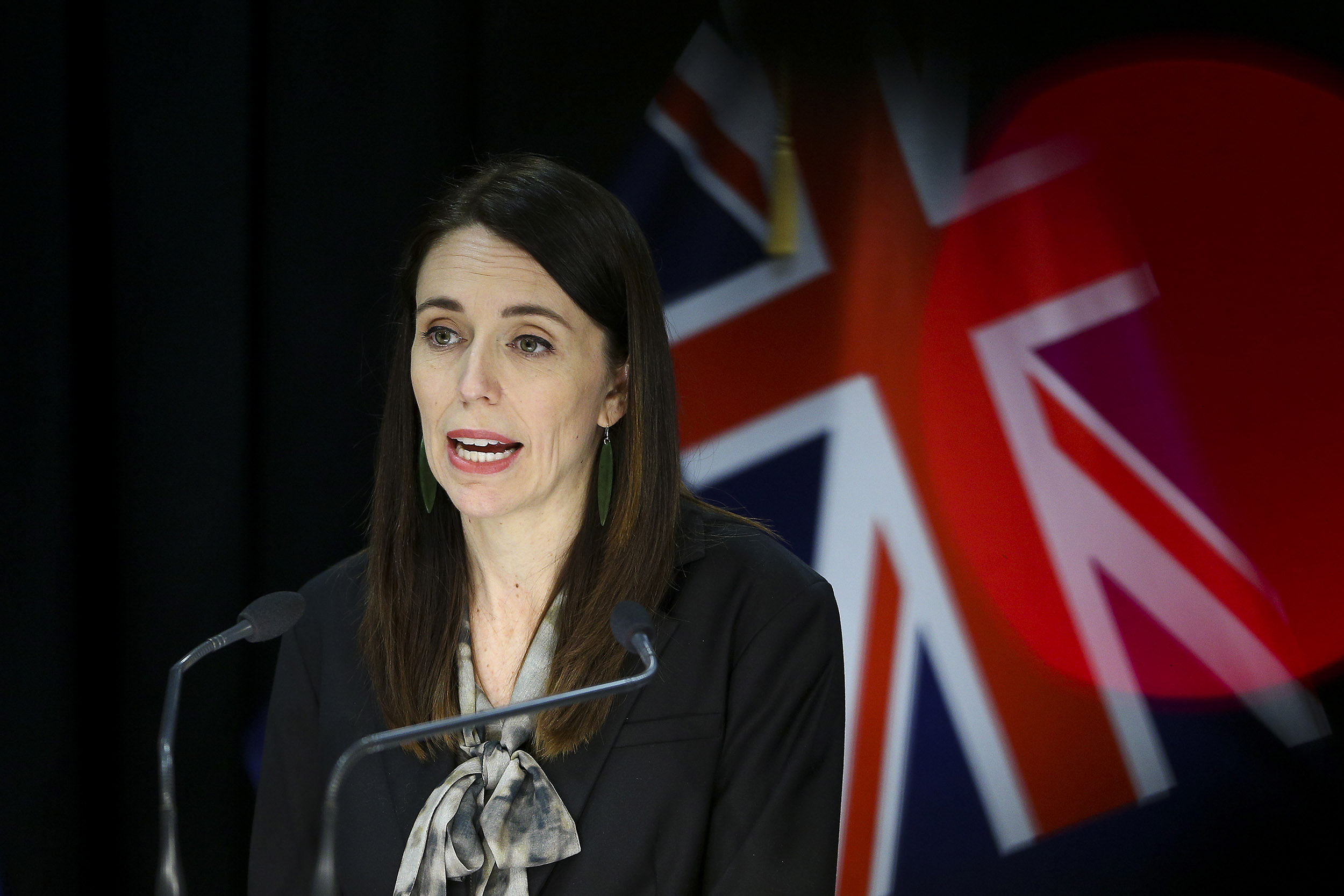 Prime Minister Jacinda Ardern speaks during a news conference at Parliament on August 12, in Wellington, New Zealand.