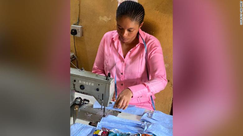 Nigerian tailor Queen Duruibe has been producing face masks since January but says she has now taken on more staff and converted her fashion store in Aba, Nigeria to make up to 10,000 masks per day.
