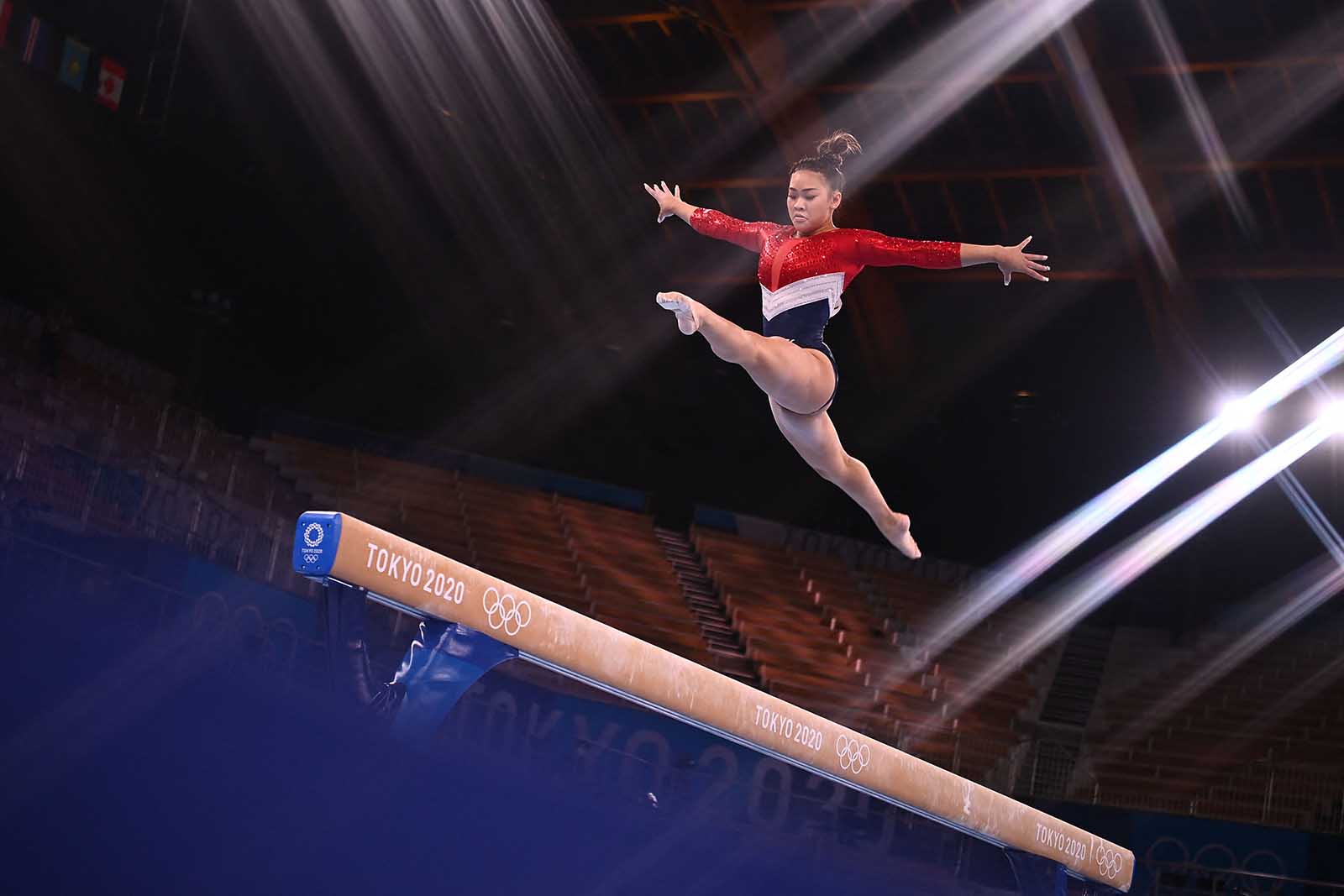 Sunisa Lee of Team USA competes in the balance beam event of the artistic gymnastics women's team final on July 27.