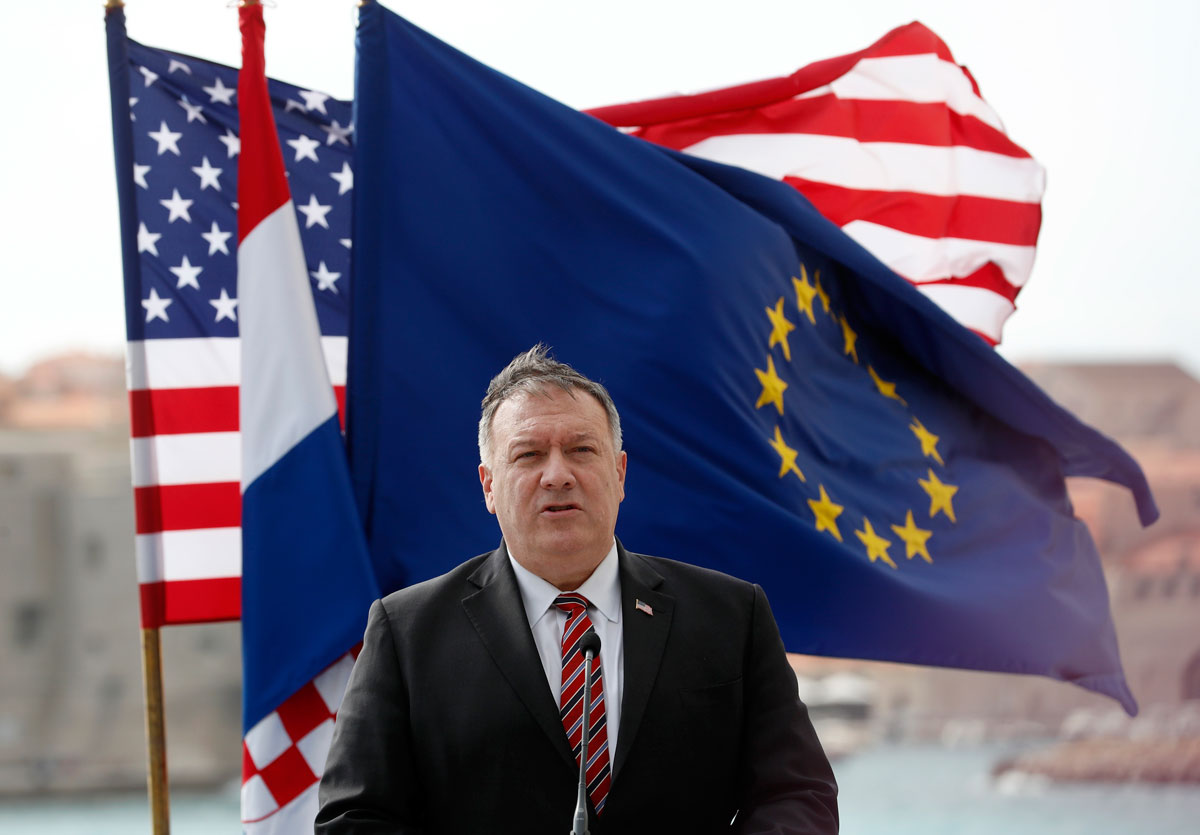U.S. Secretary of State Mike Pompeo speaks during a joint press conference with Croatia's Prime Minister Andrej Plenkovic in Dubrovnik, Croatia, Friday, October 2. Pompeo is in Croatia as part of his six-day trip to Southern Europe.