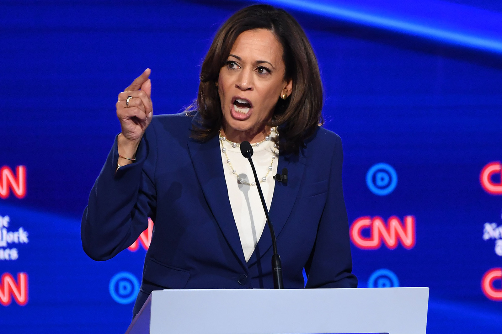 California Senator Kamala Harris speaks onstage during the fourth Democratic primary debate of the 2020 presidential campaign season co-hosted by The New York Times and CNN at Otterbein University in Westerville, Ohio on October 15, 2019.