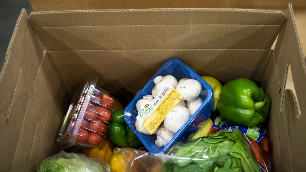 A box of food part of the Farmers to Families Food Box Program sits at the distribution center of Coastal Sunbelt Produce in Laurel, Maryland, on Friday, May 15.