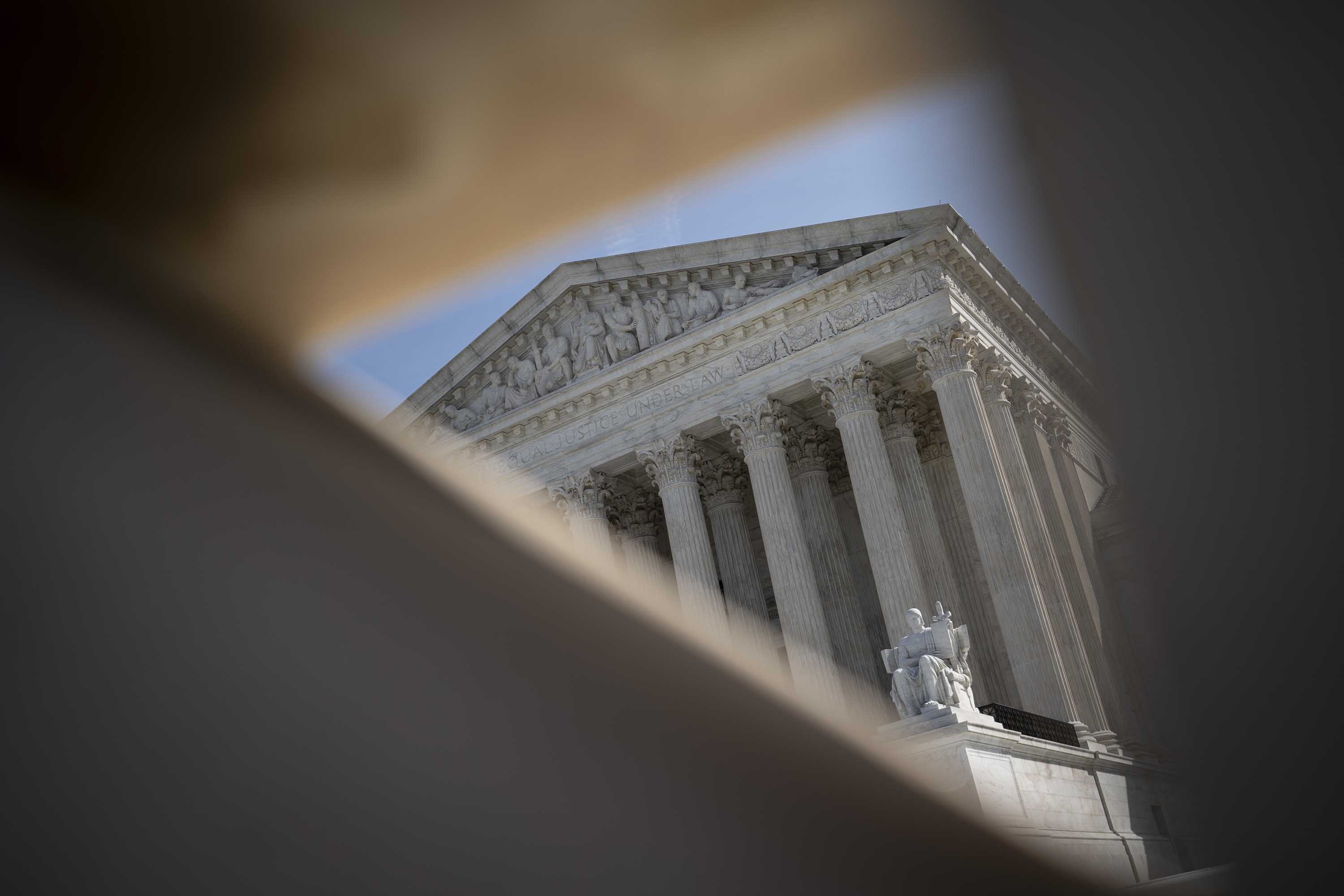 The U.S. Supreme Court is pictured on March 16, in Washington, D.C. The Supreme Court announced on Monday that it would postpone oral arguments for its March session because of the coronavirus outbreak.