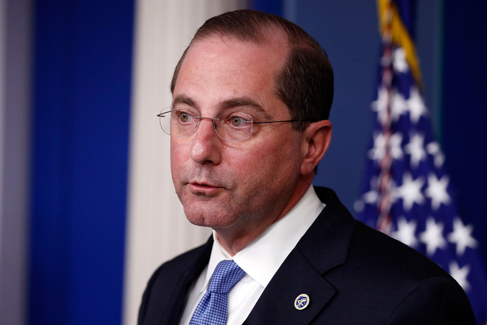 Health and Human Services Secretary Alex Azar speaks about the coronavirus in the James Brady Press Briefing Room of the White House on April 3.
