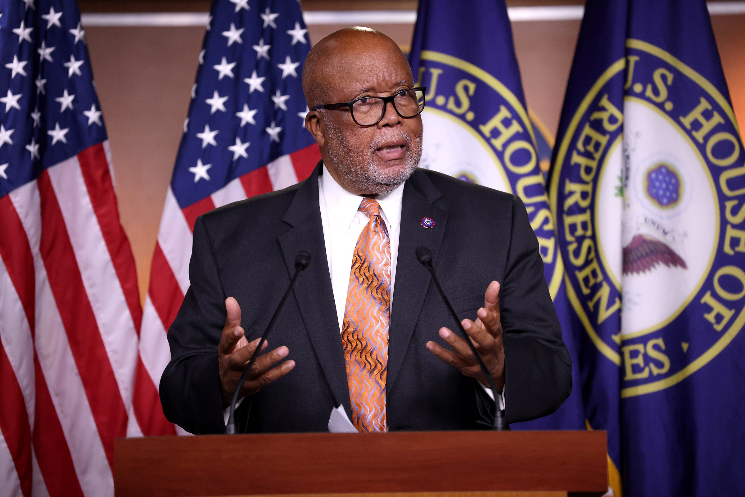 Rep. Bennie Thompson speaks during a press conference at the Capitol on May 19, in Washington, DC. Win McNamee/Getty Images