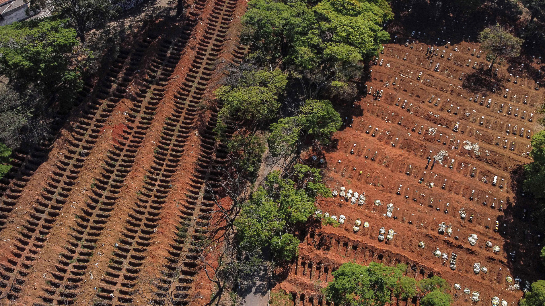 This aerial photo shows the Vila Formosa Cemetery, on the outskirts of São Paulo, Brazil, on August 6.
