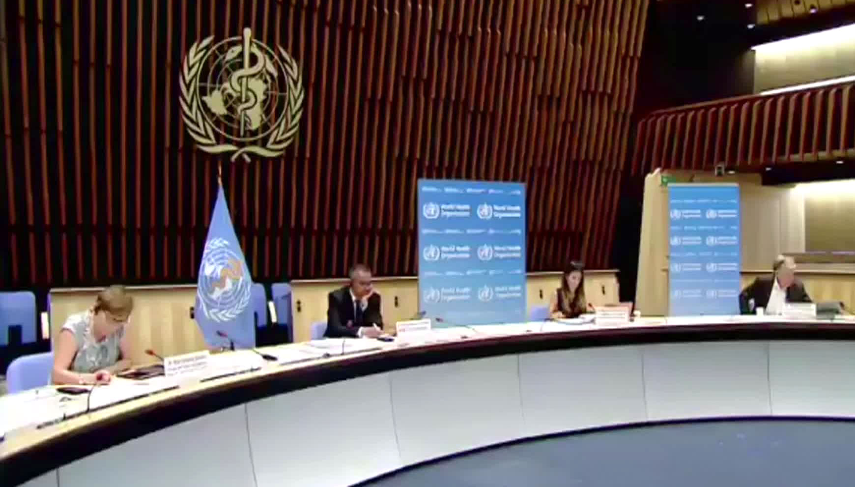 World Health Organization officials meet on August 21 in Geneva, Switzerland.