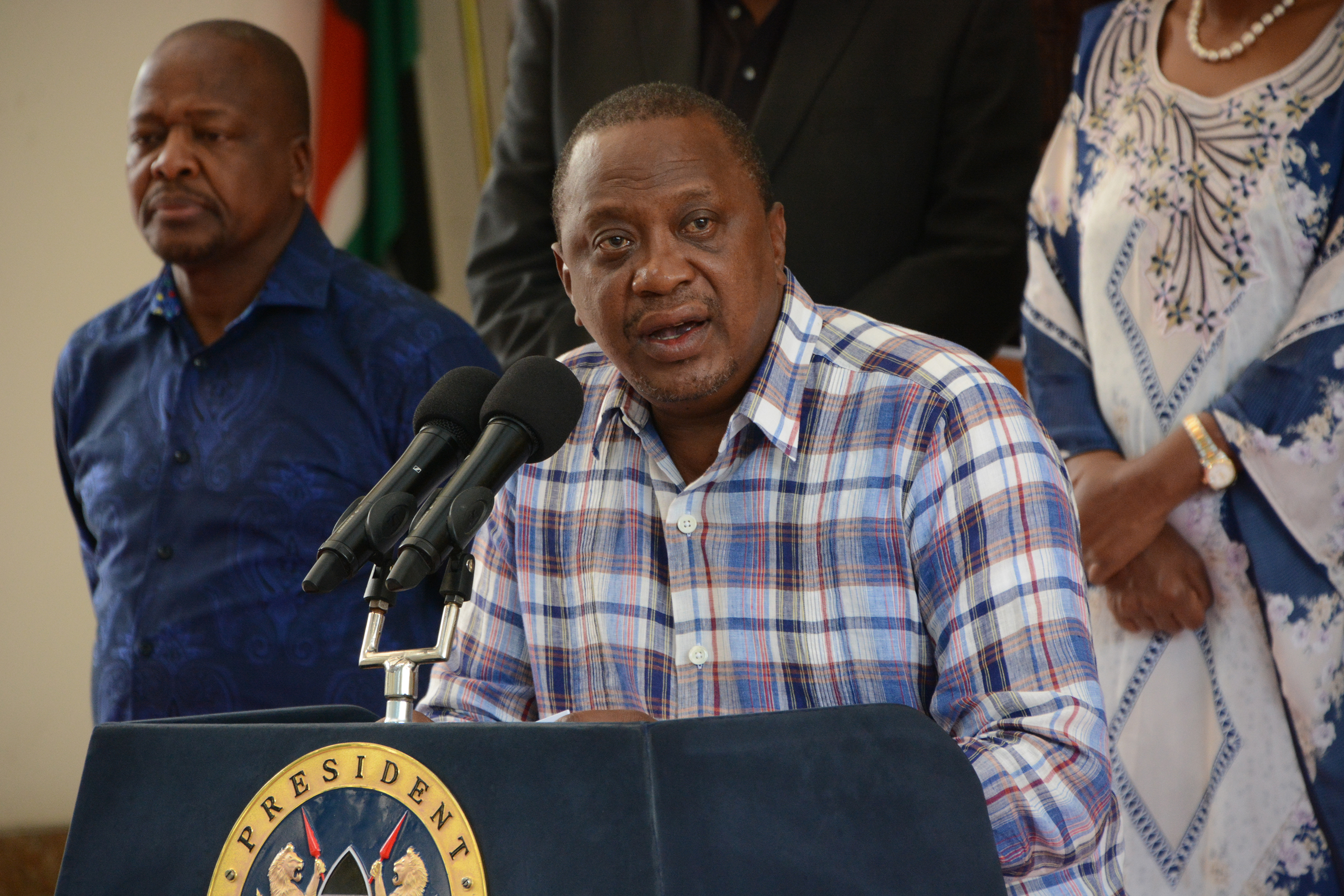 President Uhuru Kenyatta speaks about the coronavirus crisis during a press conference on March 15 at Harambee House in Nairobi, Kenya.