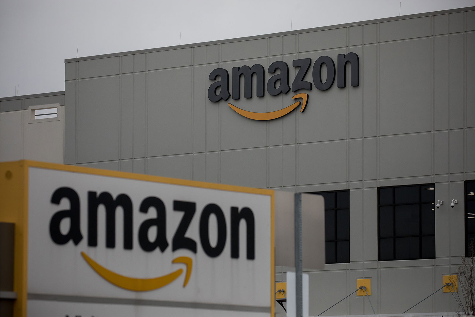 The exterior of Amazon's Staten Island warehouse on Tuesday, March 31.