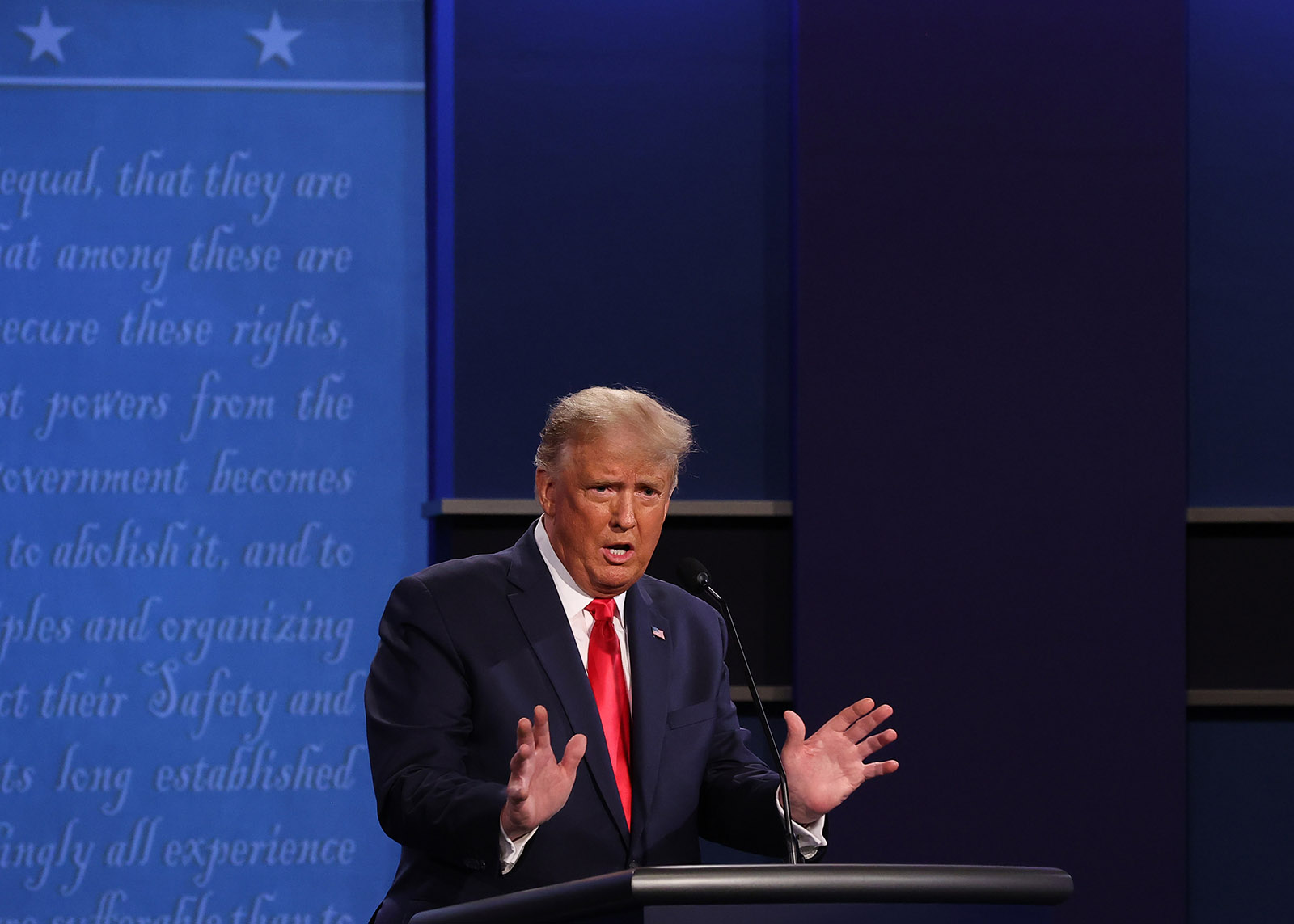 President Donald Trump participates in the final presidential debate against Democratic presidential nominee Joe Biden at Belmont University on October 22 in Nashville.