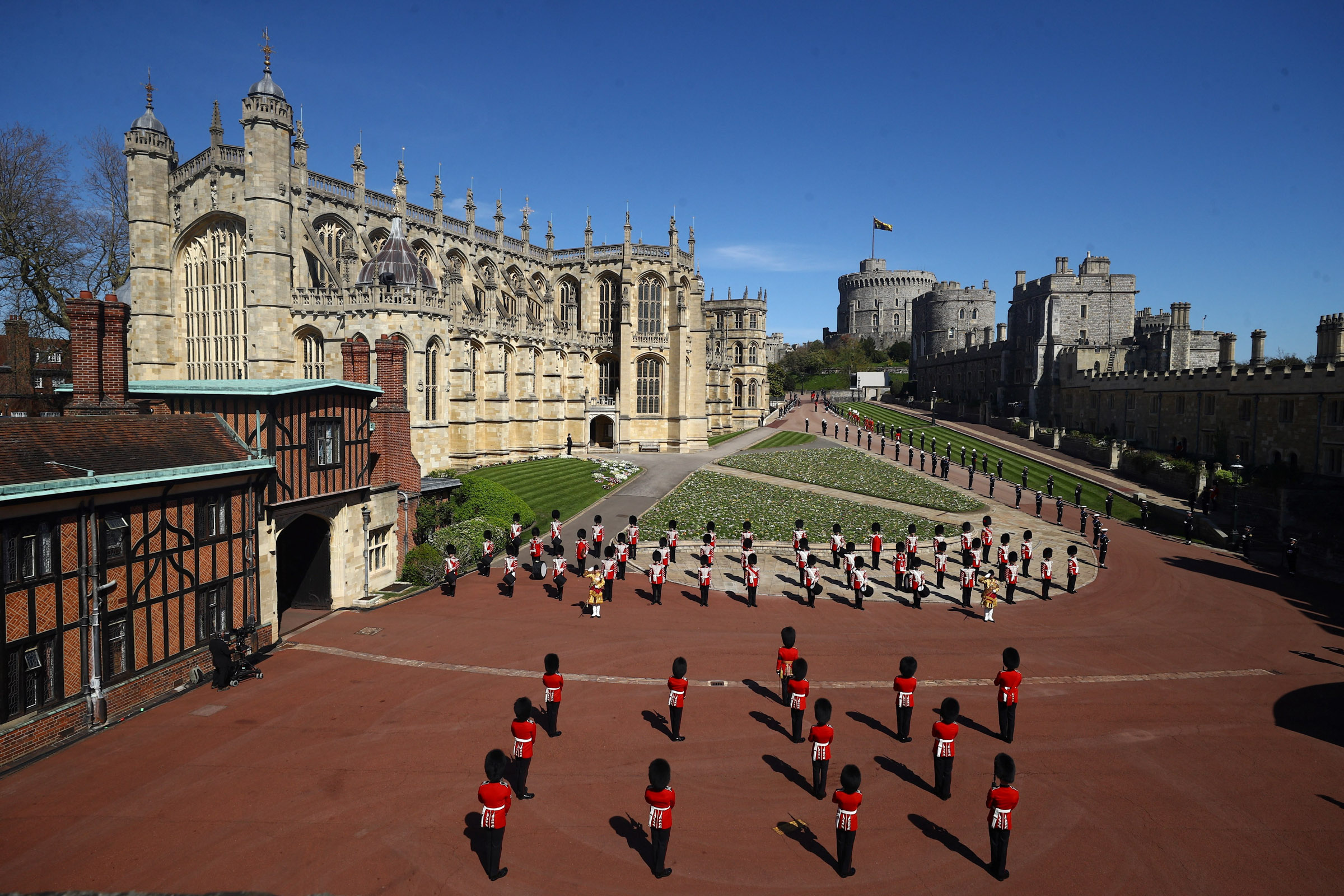 Members of the military stand outside St. George's Chapel at Windsor.