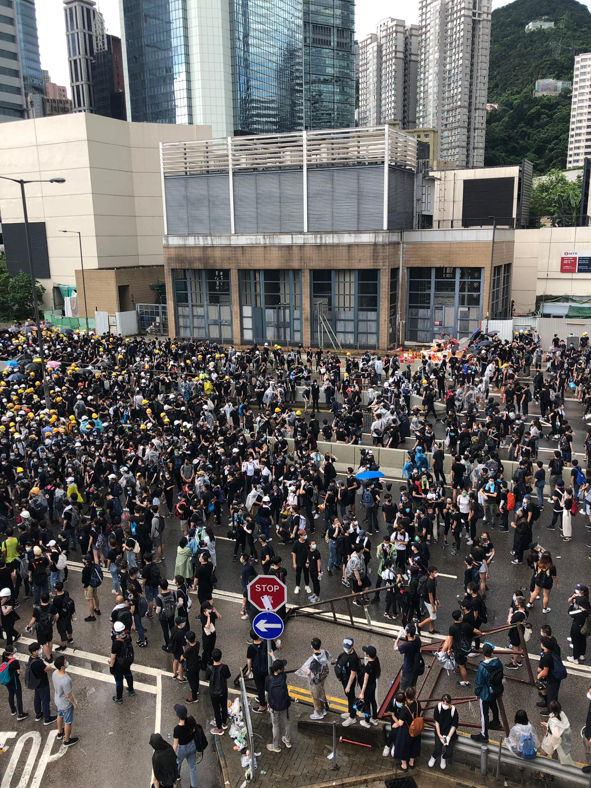 Protesters gather outside government headquarters in Admiralty.