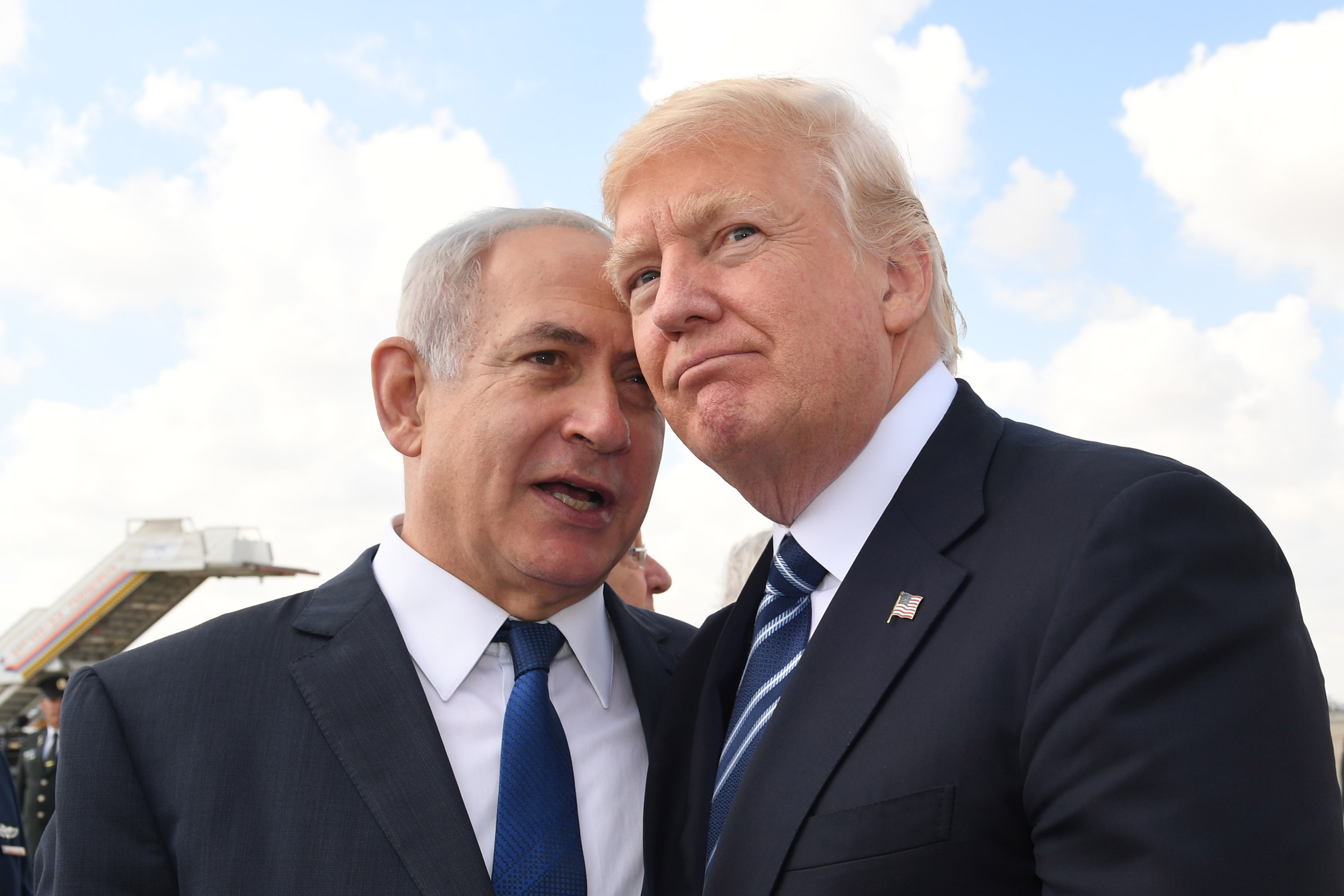 Israeli Prime Minister Benjamin Netanyahu speaks with US President Donald Trump.