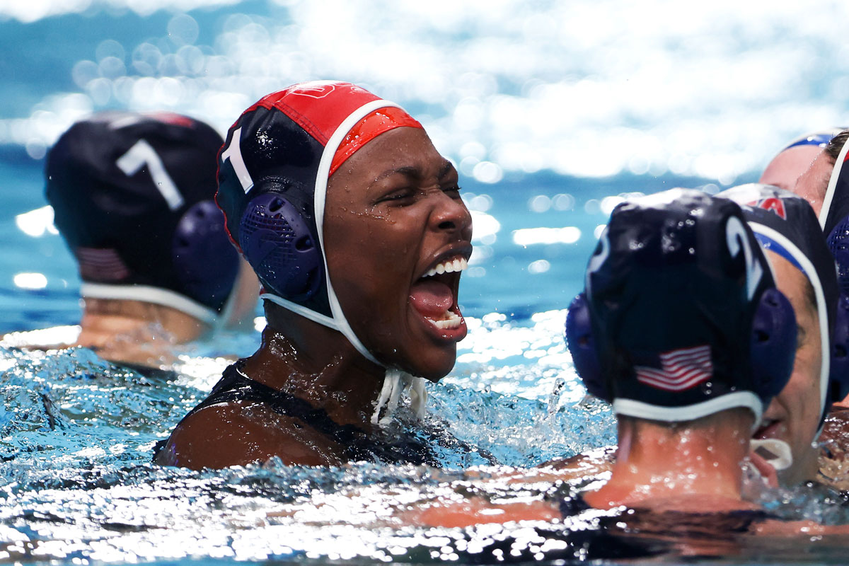 Ashleigh Johnson celebrates the United States' win over Spain in the water polo final.