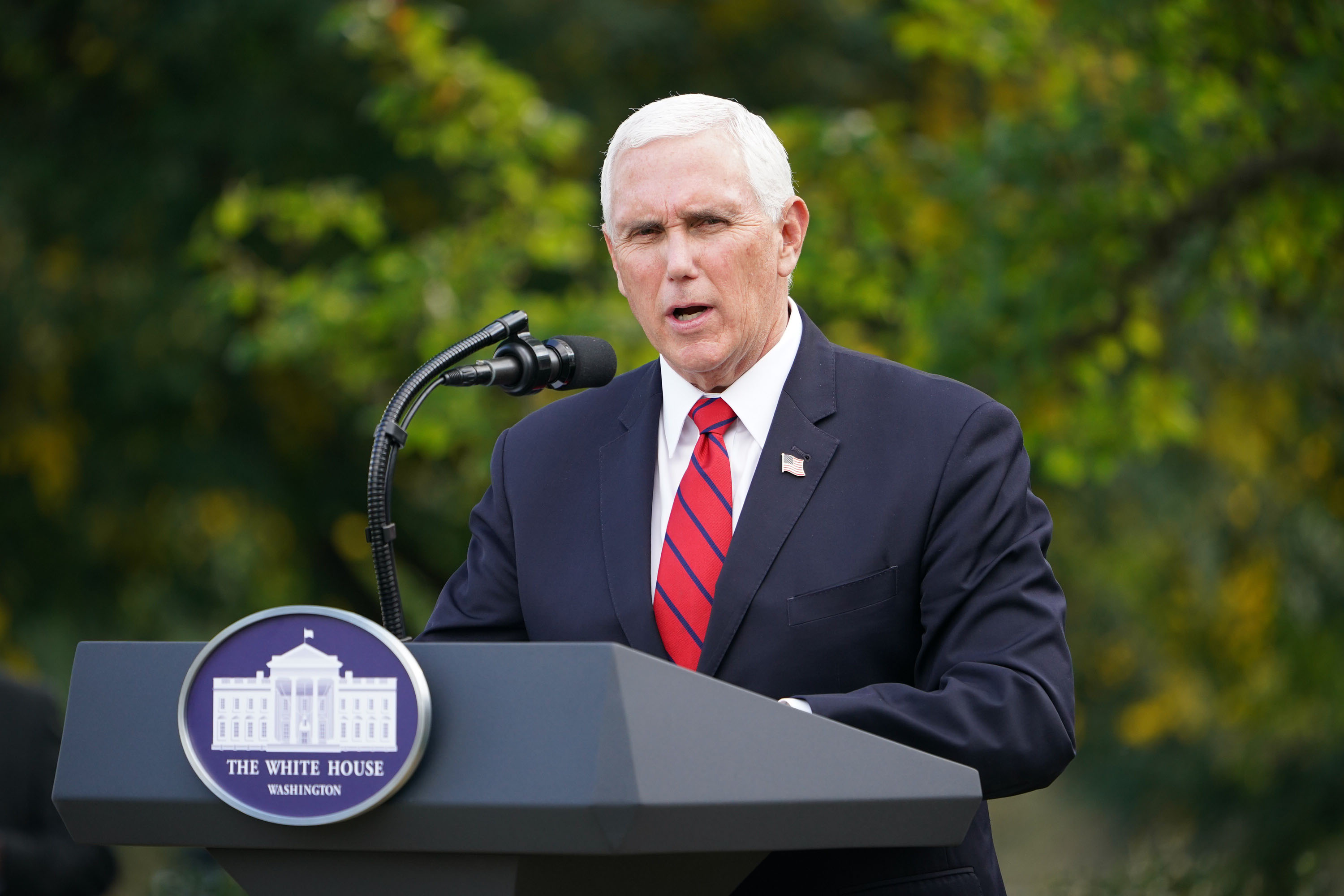 US Vice President Mike Pence speaks on Covid-19 testing in the Rose Garden of the White House in Washington, DC on September 28.