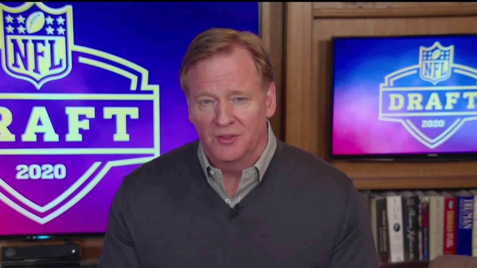 In this still image from video provided by the NFL, Commissioner Roger Goodell speaks just before the NFL football draft, April 23, 2020. (NFL via AP)