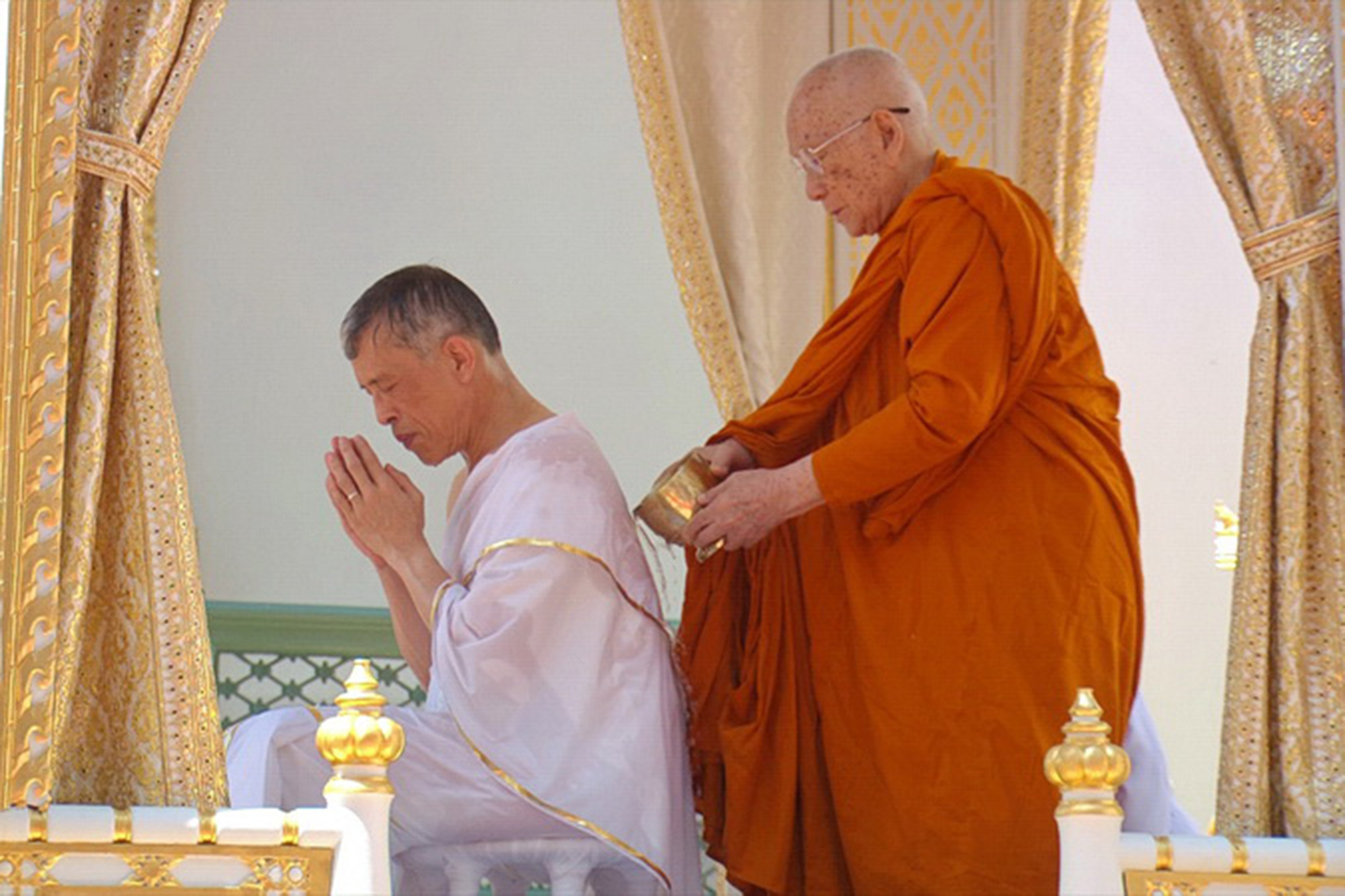 Thai King Maha Vajiralongkorn during the royal purification abbot as part of the the coronation ceremony at the Grand Palace in Bangkok, Thailand, on May 4, 2019.