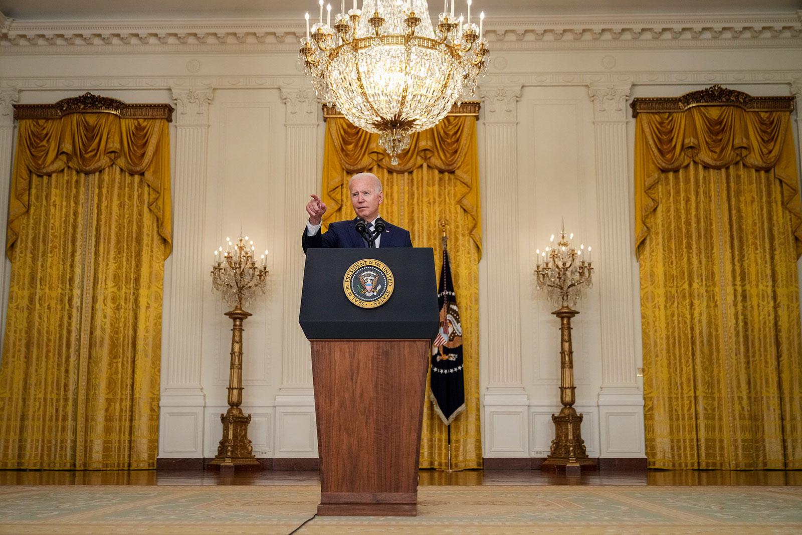 President Joe Biden speaks from the East Room of the White House on August 26.