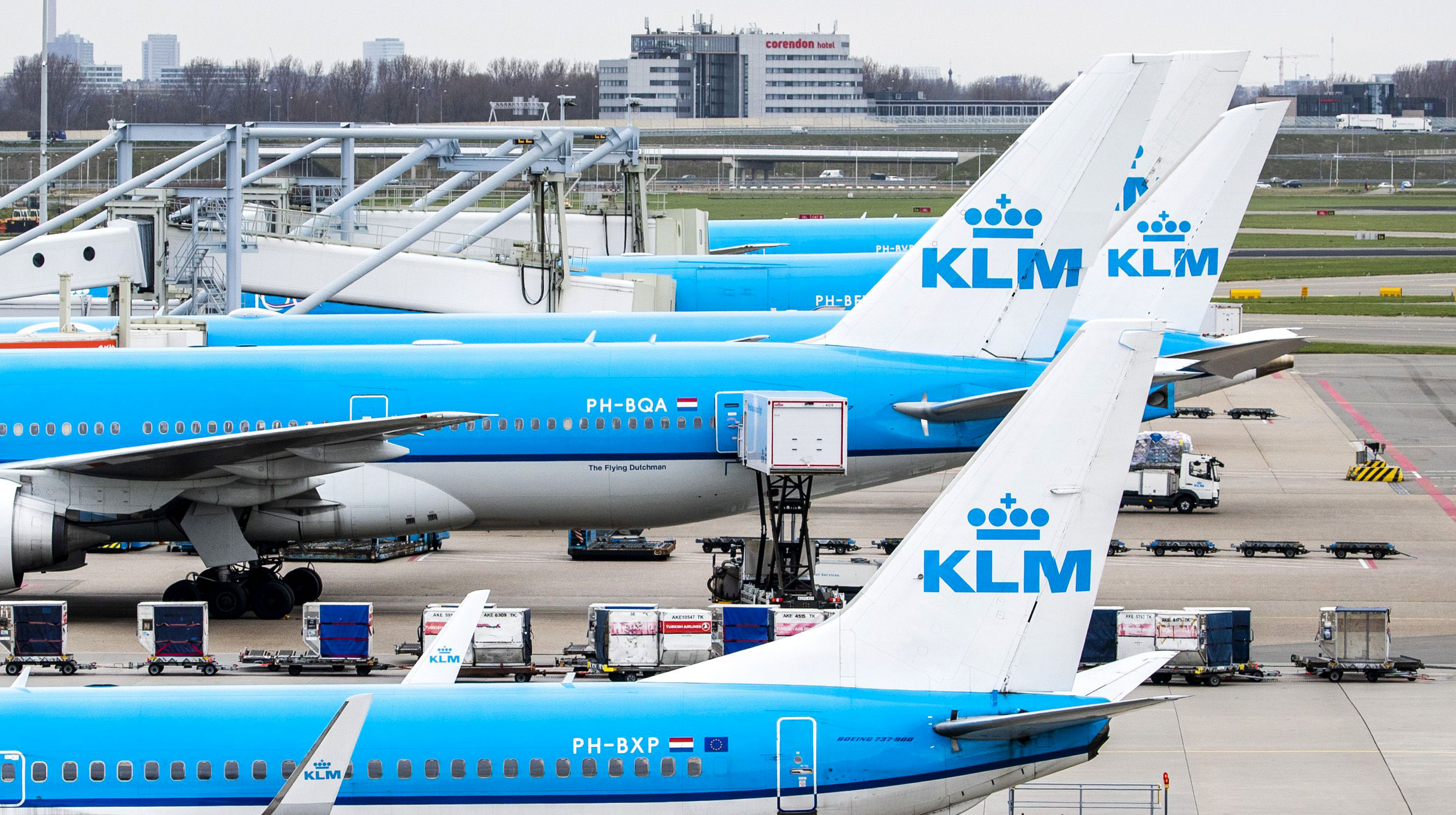 Dutch airline KLM planes are parked on the tarmac of the Schiphol Airport on March 18 on the outskirts of Amsterdam.