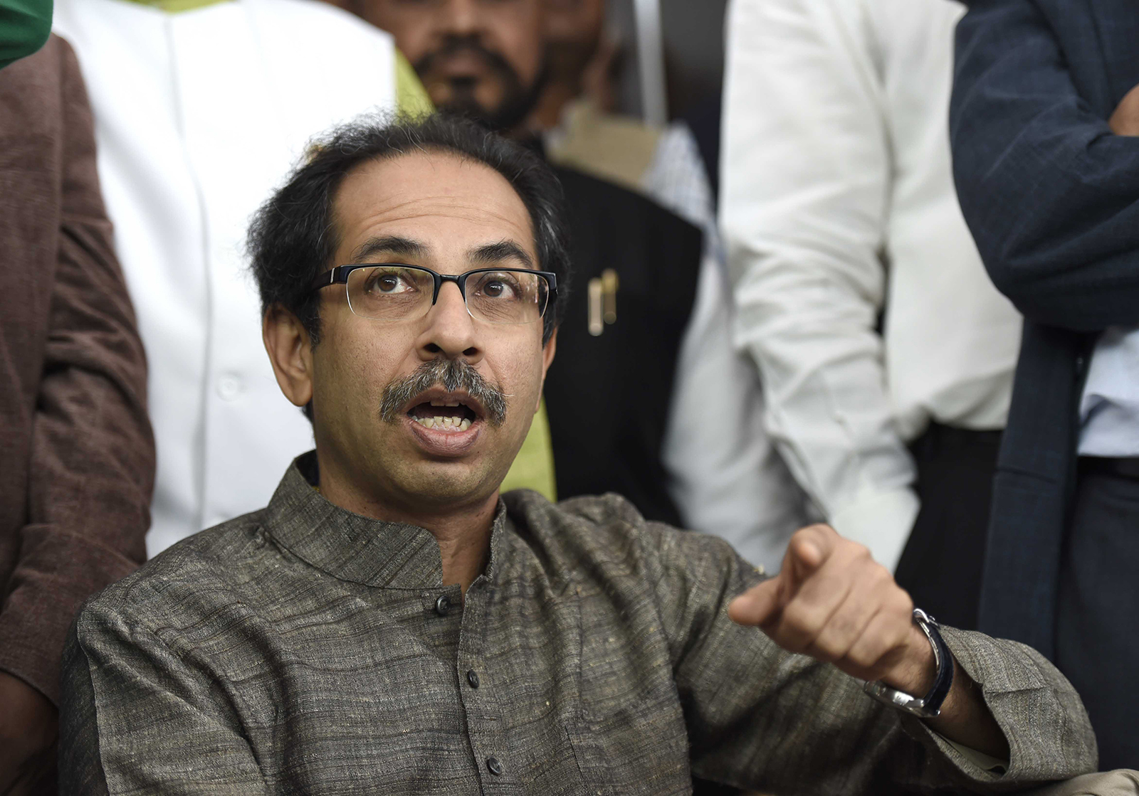 The Chief Minister of India's Maharashtra state, Uddhav Thackeray, speaks during a news conference in New Delhi, India, on December 8, 2016.