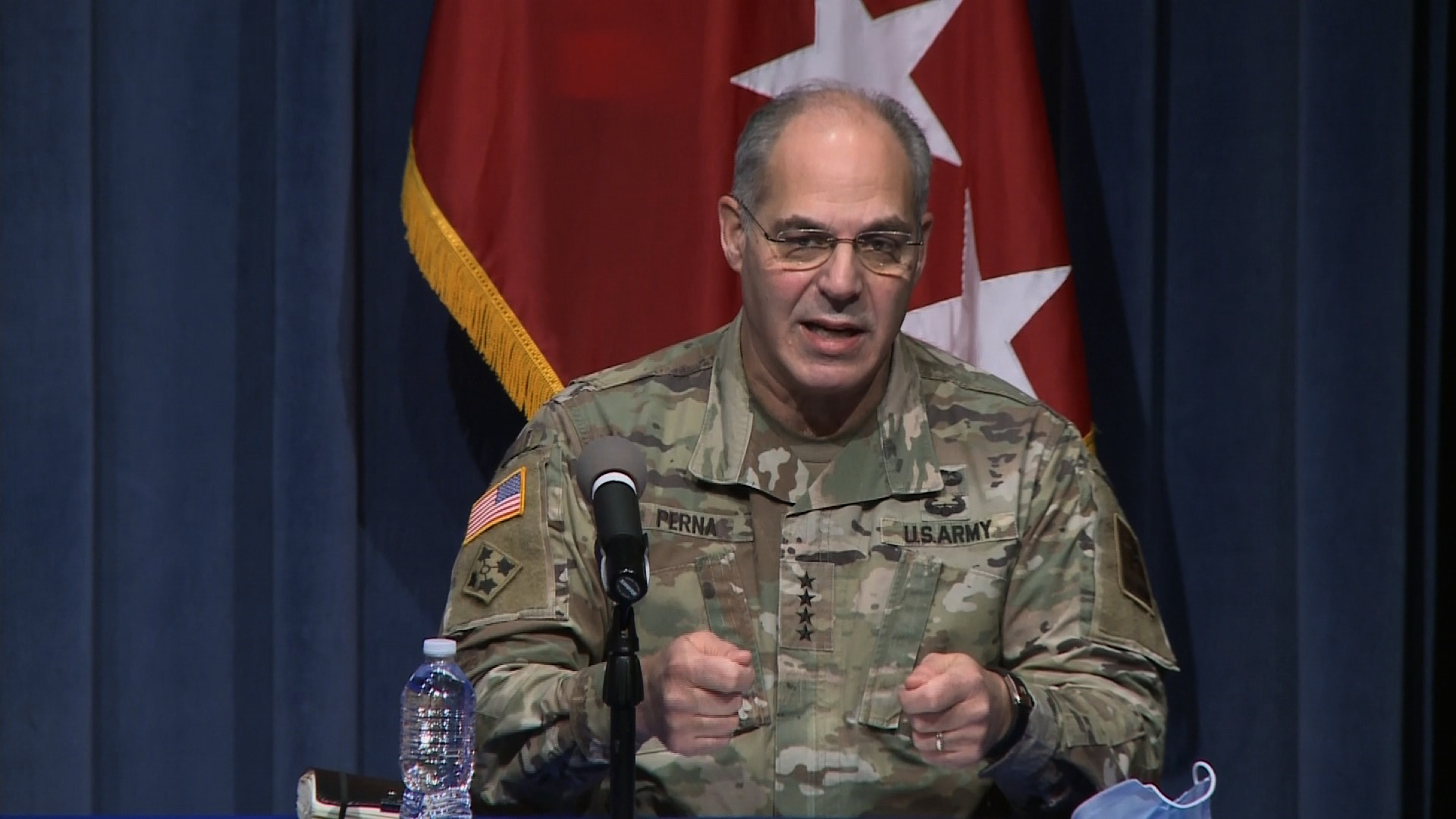 Gen. Gustave F. Perna, chief operating officer of Operation Warp Speed, speaks during an Operation Warp Speed briefing on December 16.