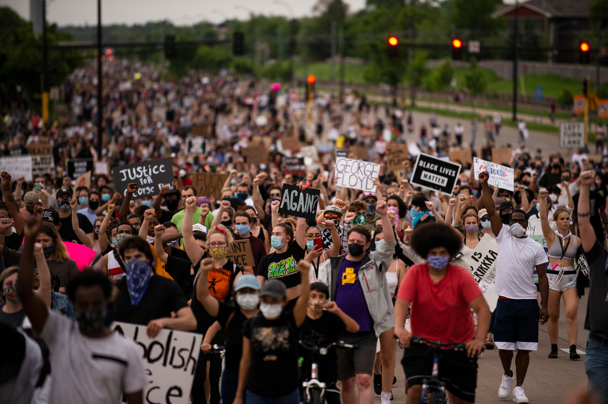 Protesters march on Hiawatha Avenue while decrying the killing of George Floyd on May 26 in Minneapolis, Minnesota.