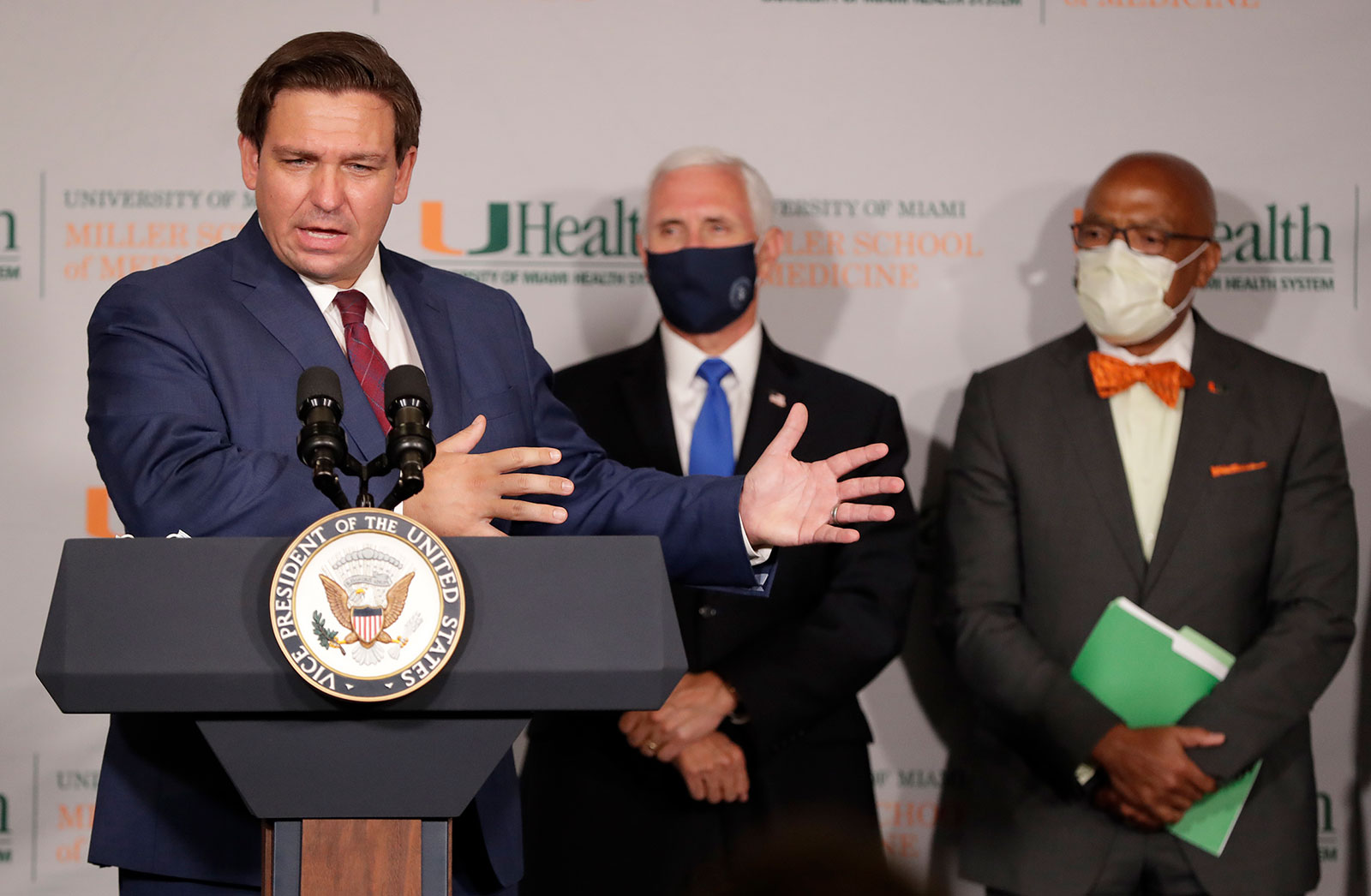 Florida Gov. Ron DeSantis speaks during a news conference at the University of Miami Miller School of Medicine on Monday, July 27.
