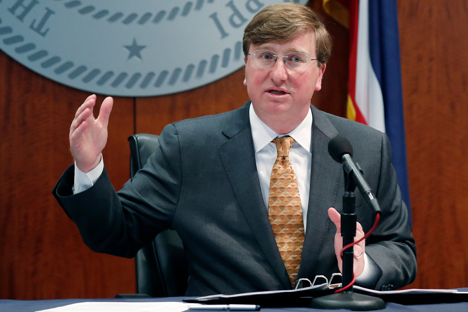 Gov. Tate Reeves provides reporters an update on the state's response to COVID-19 in Jackson, Mississippi on April 29.