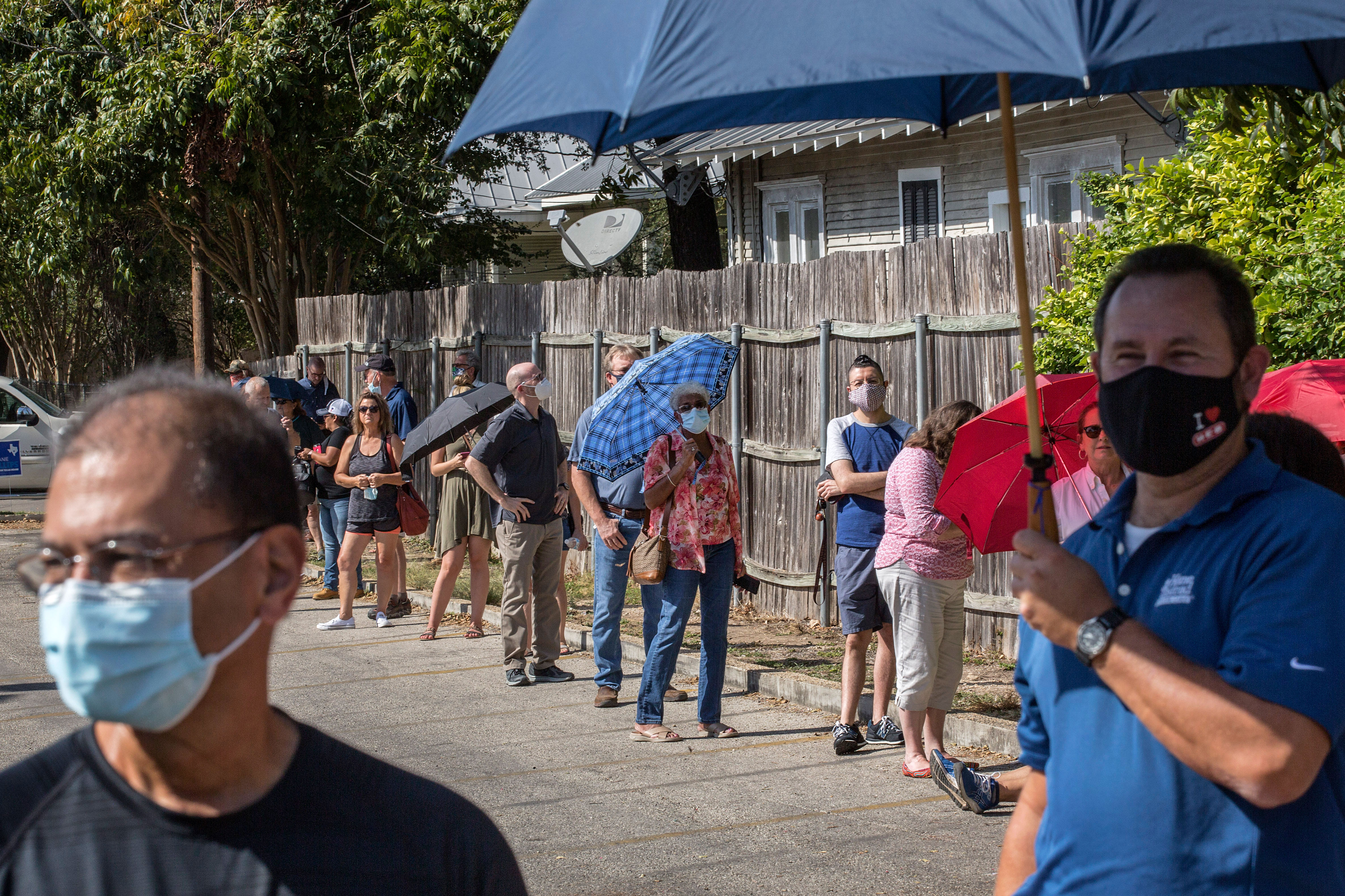 People in New Braunfels, Texas, wait in line to vote on October 13.