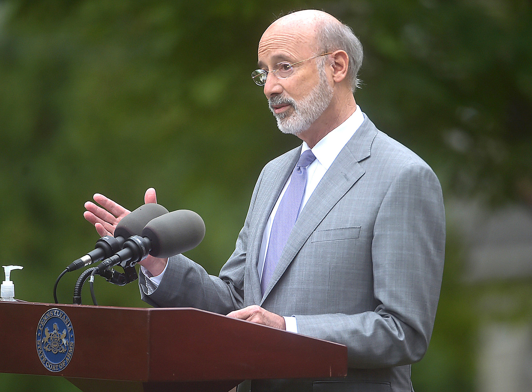 Pennsylvania Gov. Tom Wolf speaks during a news conference in Malvern, Pennsylvania, on October 1, 2020.