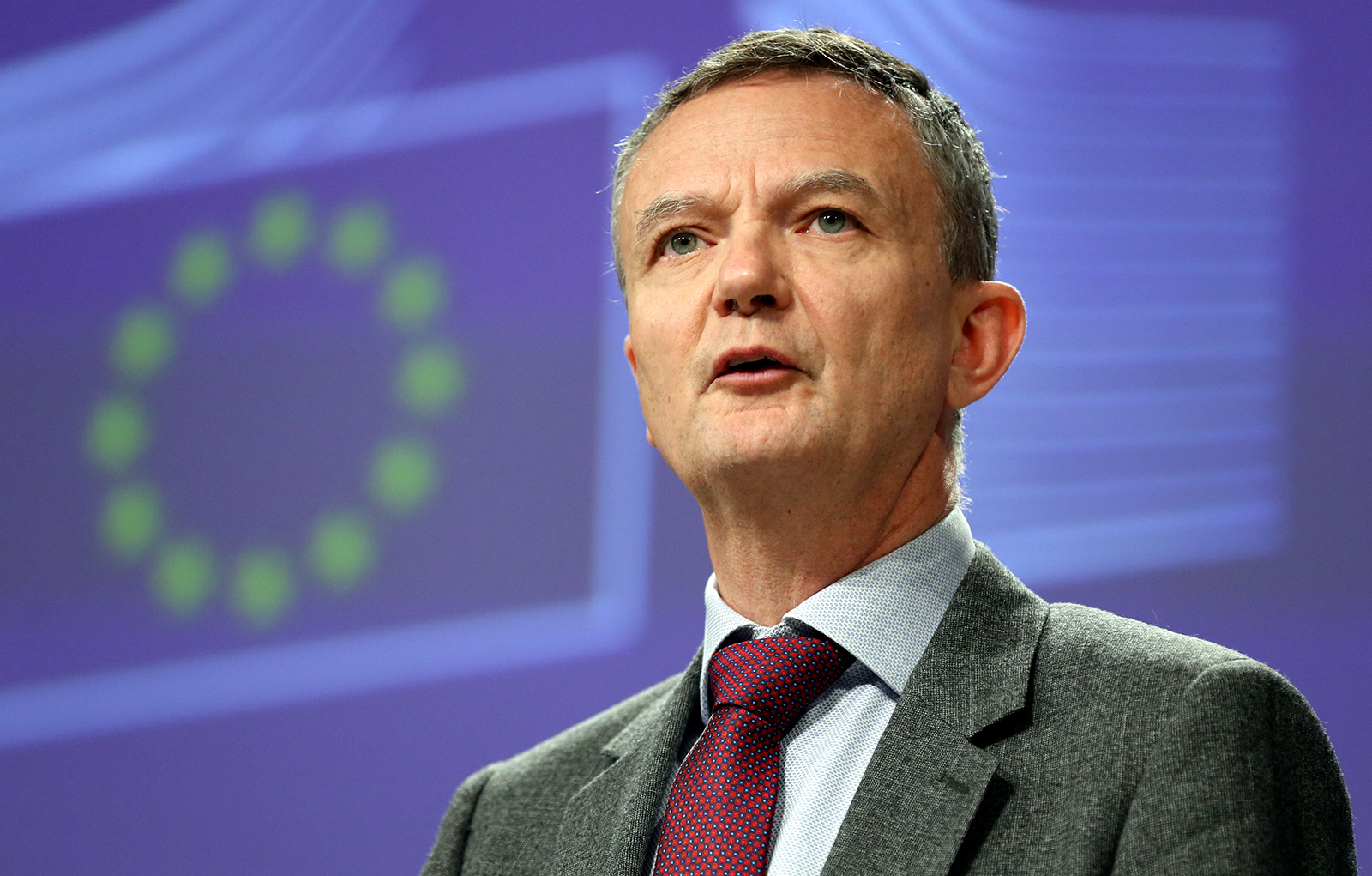 European Commission spokesman Eric Mamer speaks during a conference in Brussels, Belgium, on March 5, 2020.