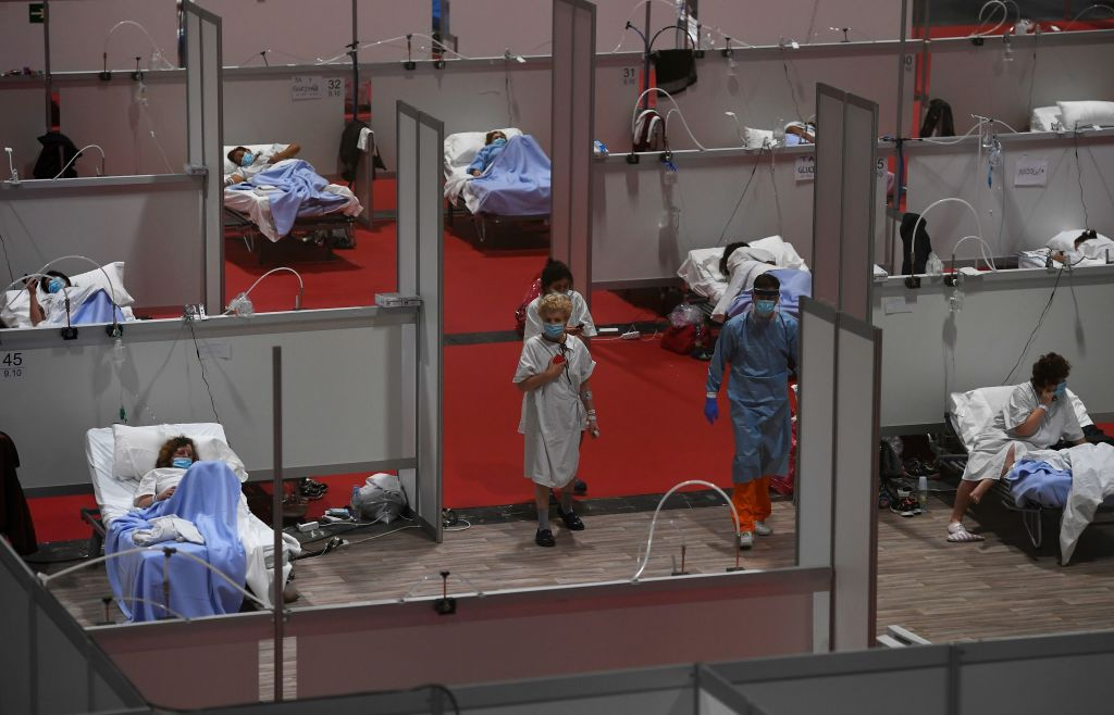 Patients at a temporary hospital, built in an exhibition center in Madrid.