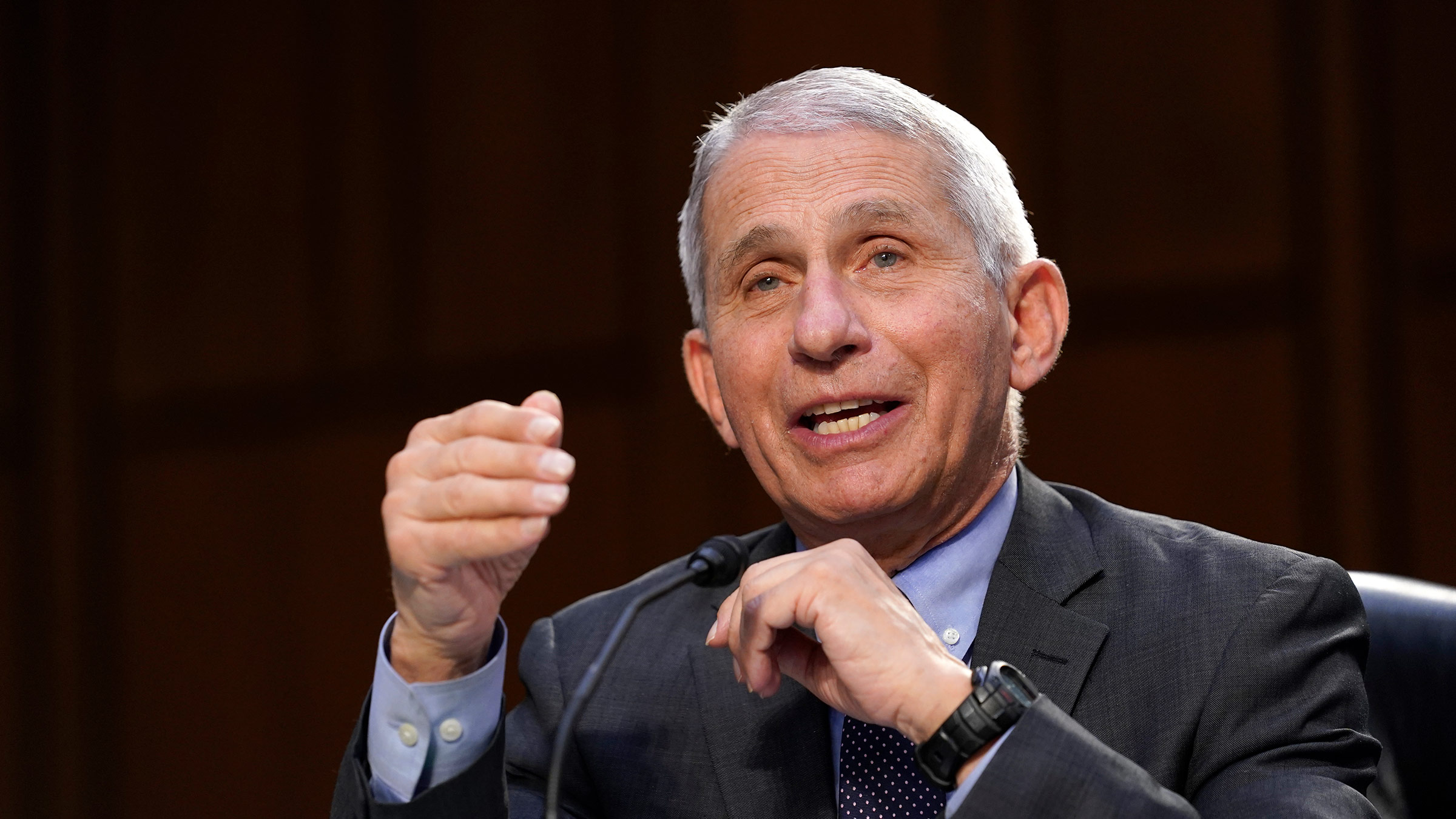 Dr. Anthony Fauci testifies during a Senate Health, Education, Labor and Pensions Committee hearing on March 18, in Washington, DC.