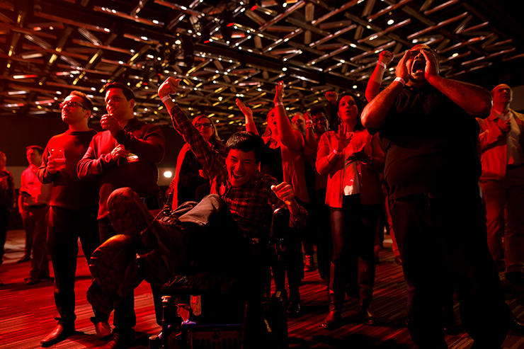 Liberal supporters react as results roll in at Canadian Prime Minister Justin Trudeau's election night headquarters.