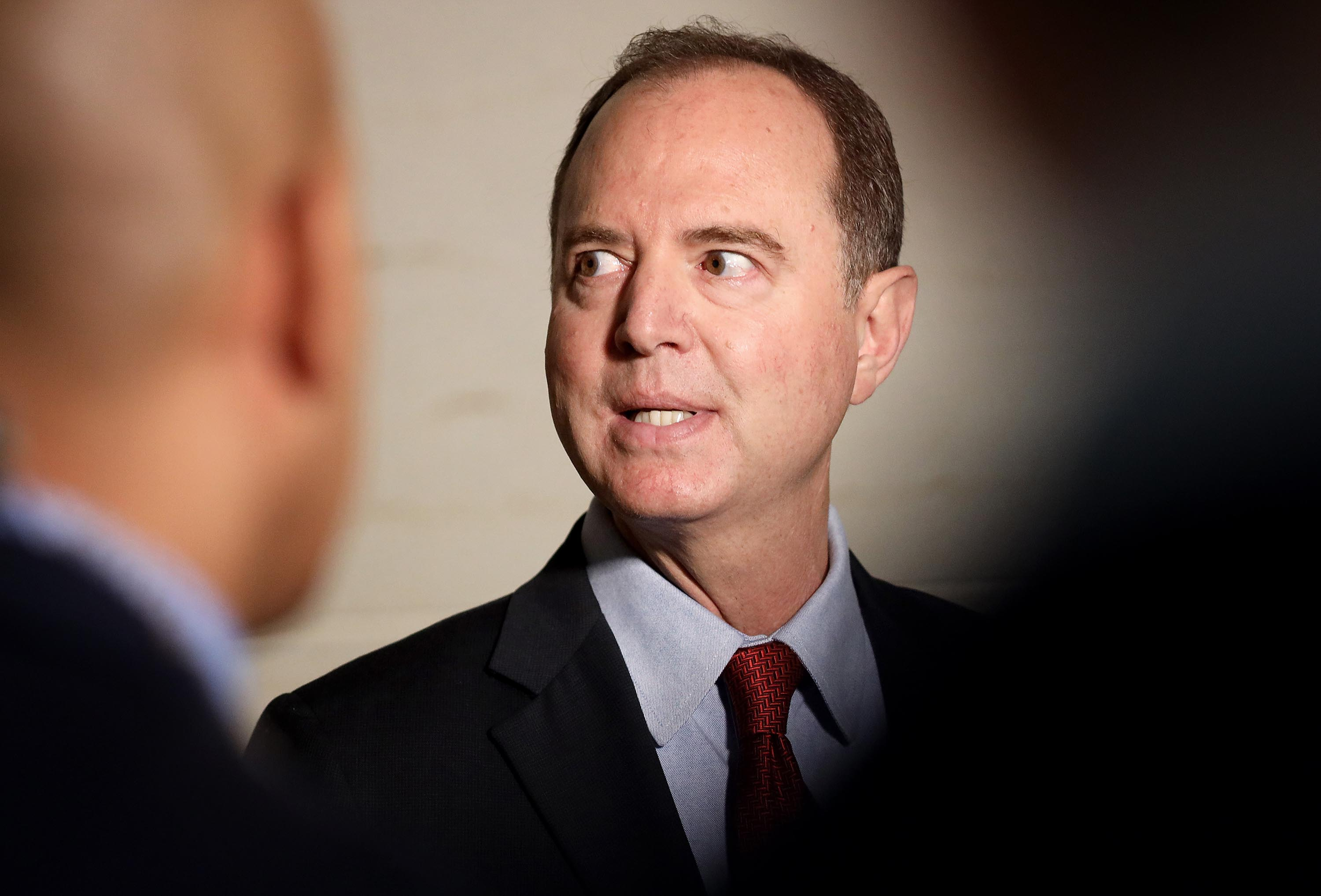 House Intelligence Committee Chair Adam Schiff speaks at a press conference at the US Capitol on Tuesday, October 8 in Washington.