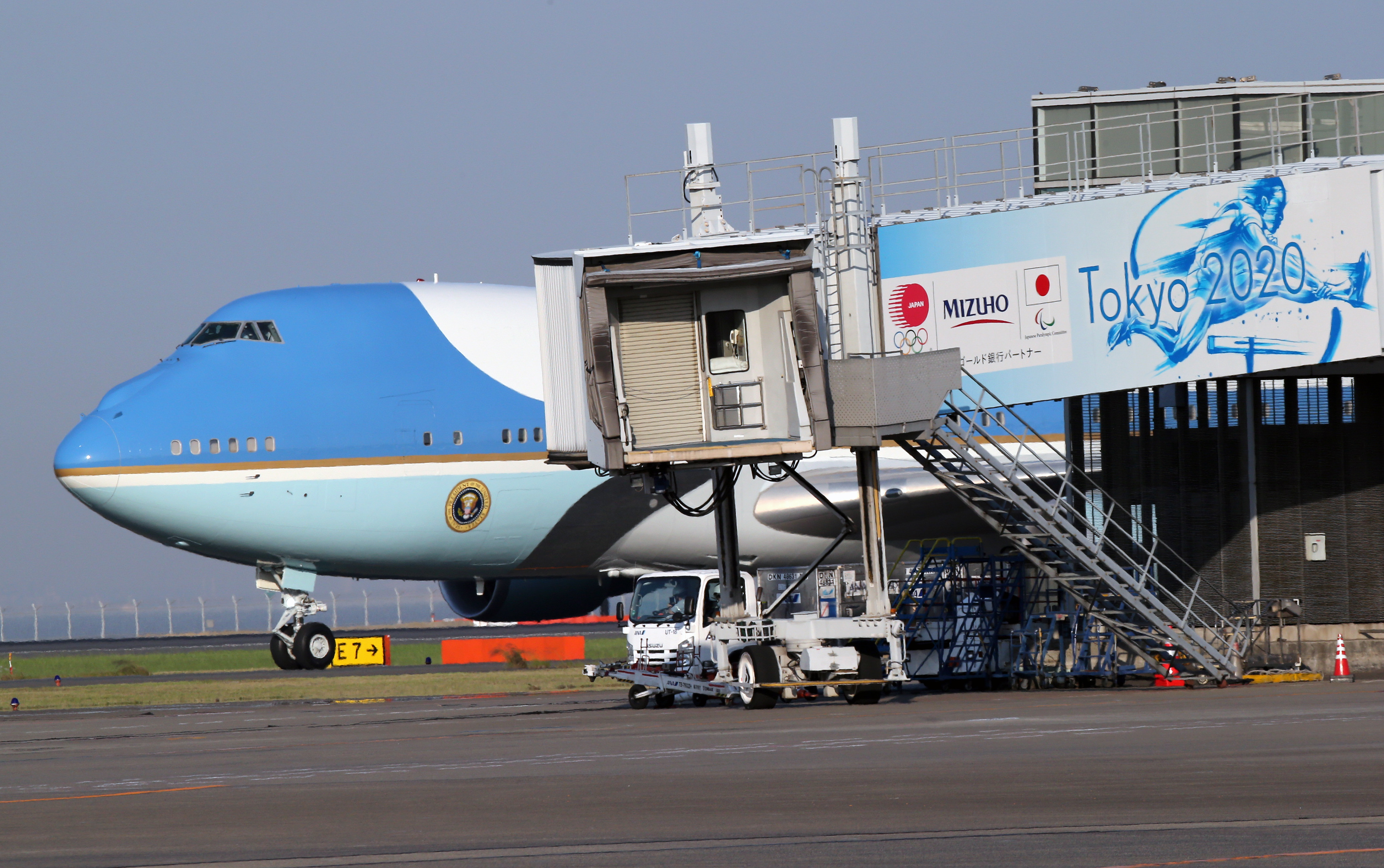 Air Force One carrying US President Donald Trump and first lady Melania Trump arrives at Haneda International Airport in Tokyo.