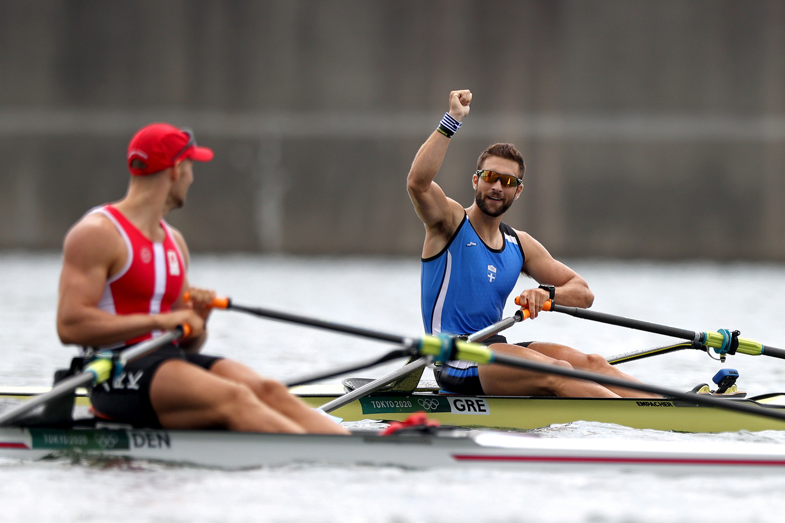 Stefanos Ntouskos of Greece reacts after winning the gold medal during the men's single rowing final on Friday.