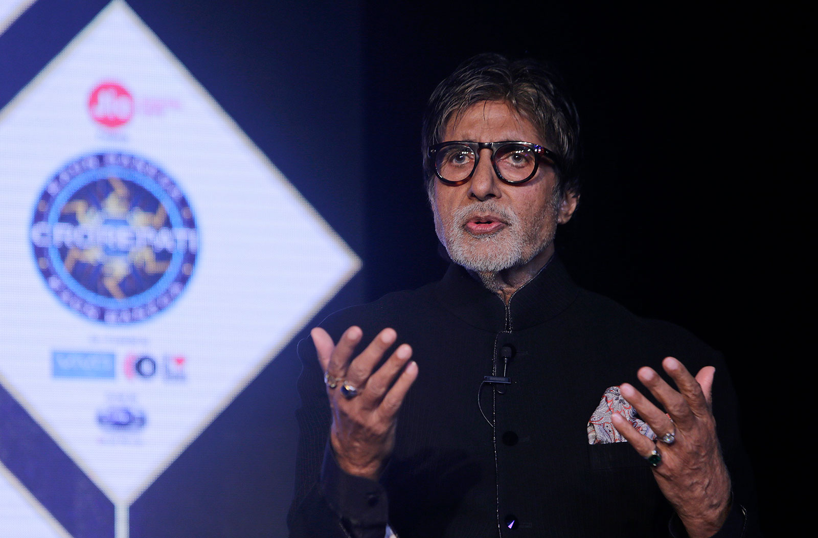 "Bollywood actor Amitabh Bachchan speaks during a promotional event for his television show ""Kaun Banega Crorepati"" in Mumbai, India, in 2017."