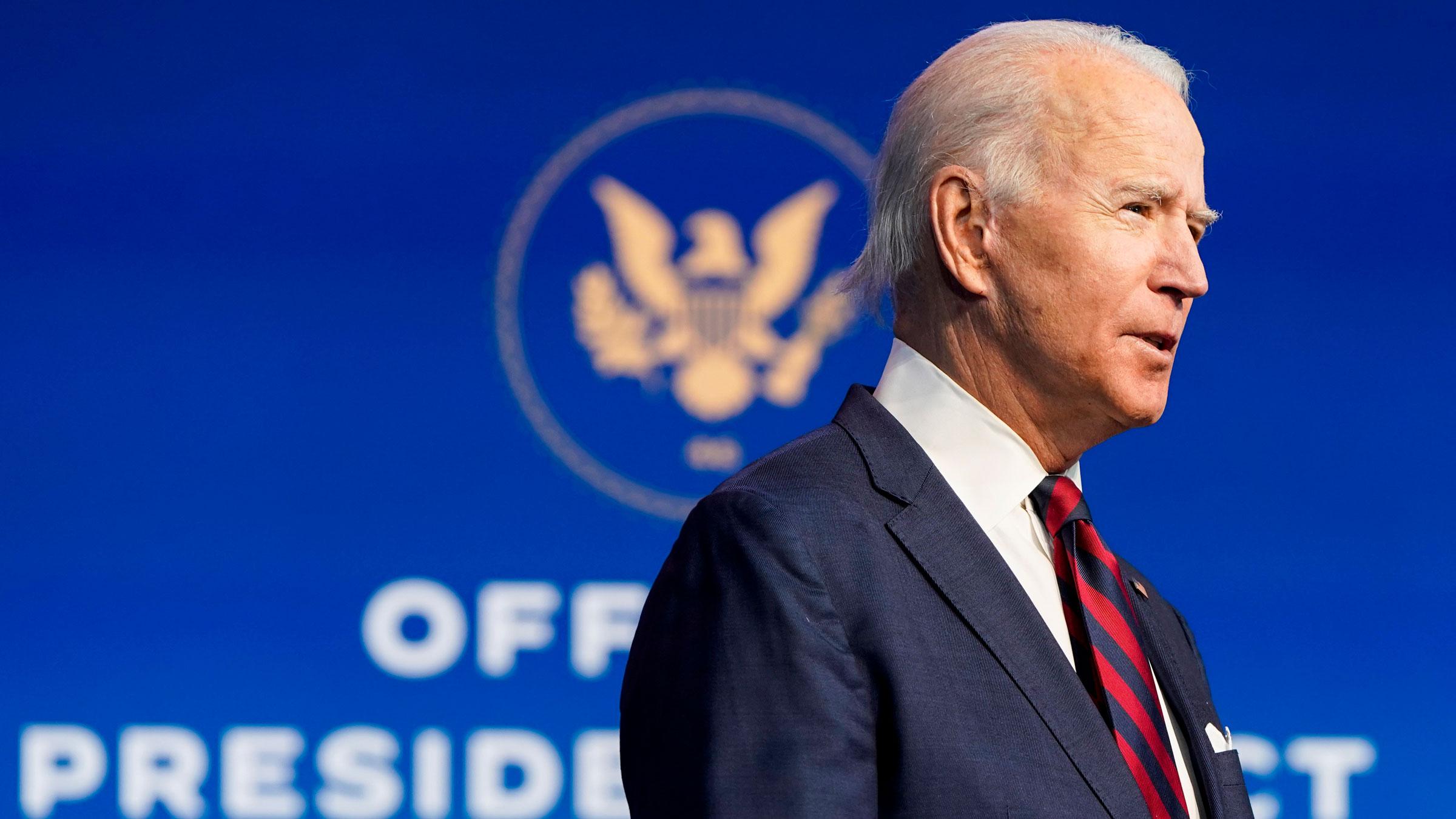 President-elect Joe Biden speaks in Wilmington, Delaware, on Saturday.