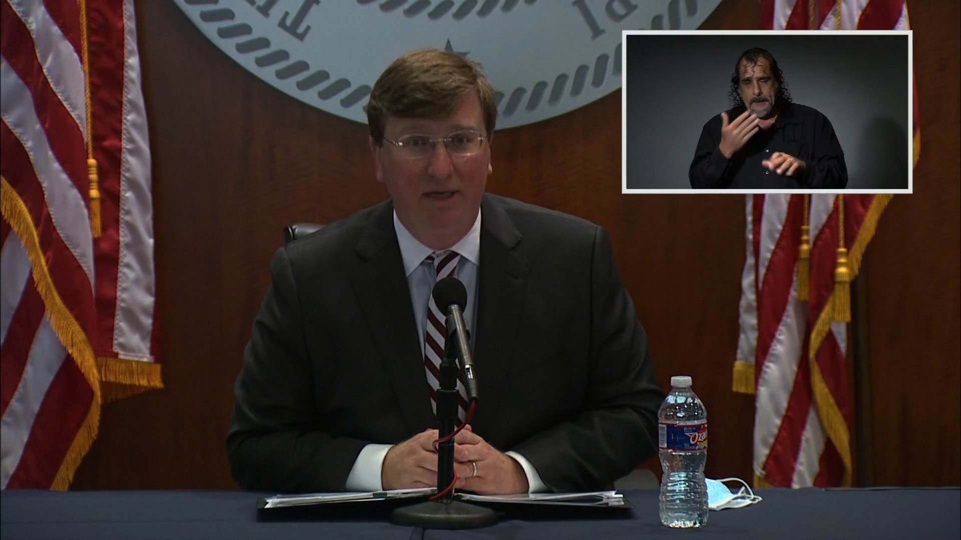 Mississippi Gov. Tate Reeves speaks during a press conference in Jackson, Mississippi, on November 24.