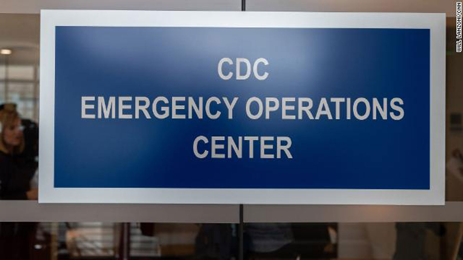 A sign on the outside of the CDC Emergency Operations Center in Atlanta, Georgia, on Thursday, February 13.
