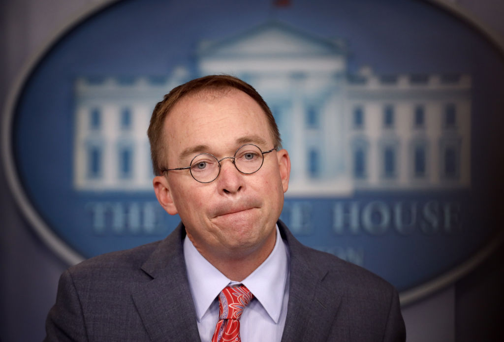 Acting White House Chief of Staff Mick Mulvaney answers questions during a briefing at the White House on October 17