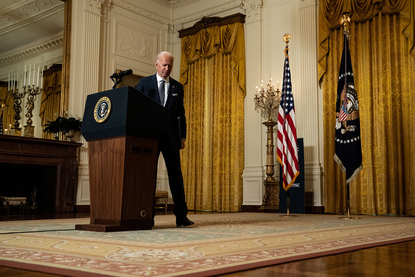 President Joe Biden departs after delivering remarks at a virtual event hosted by the Munich Security Conference in the East Room of the White House on February 19, in Washington, DC.