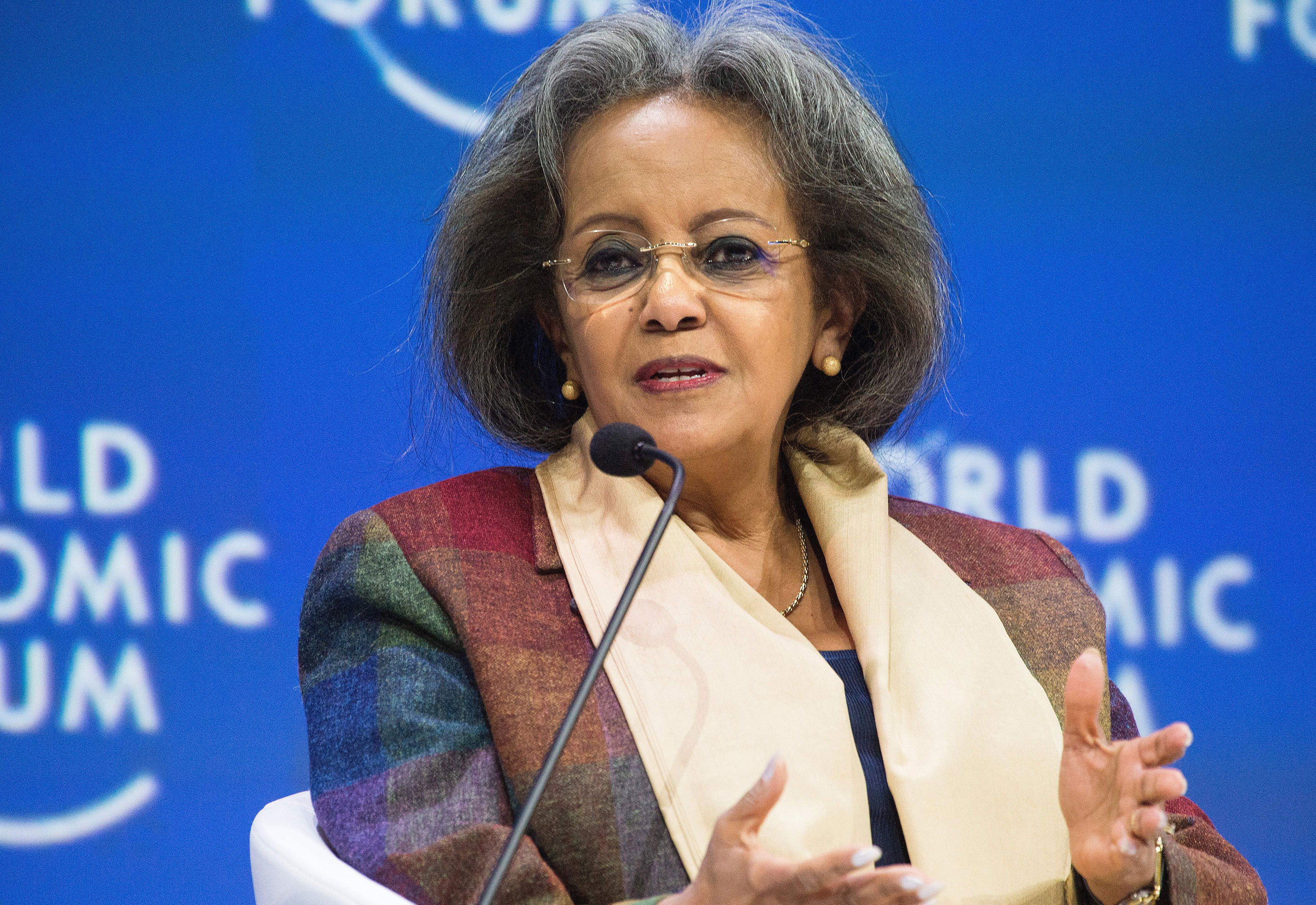 Ethiopia's President Sahle-Work Zewde speaks during the World Economic Forum Africa meeting on September 4, 2019, in Cape Town.