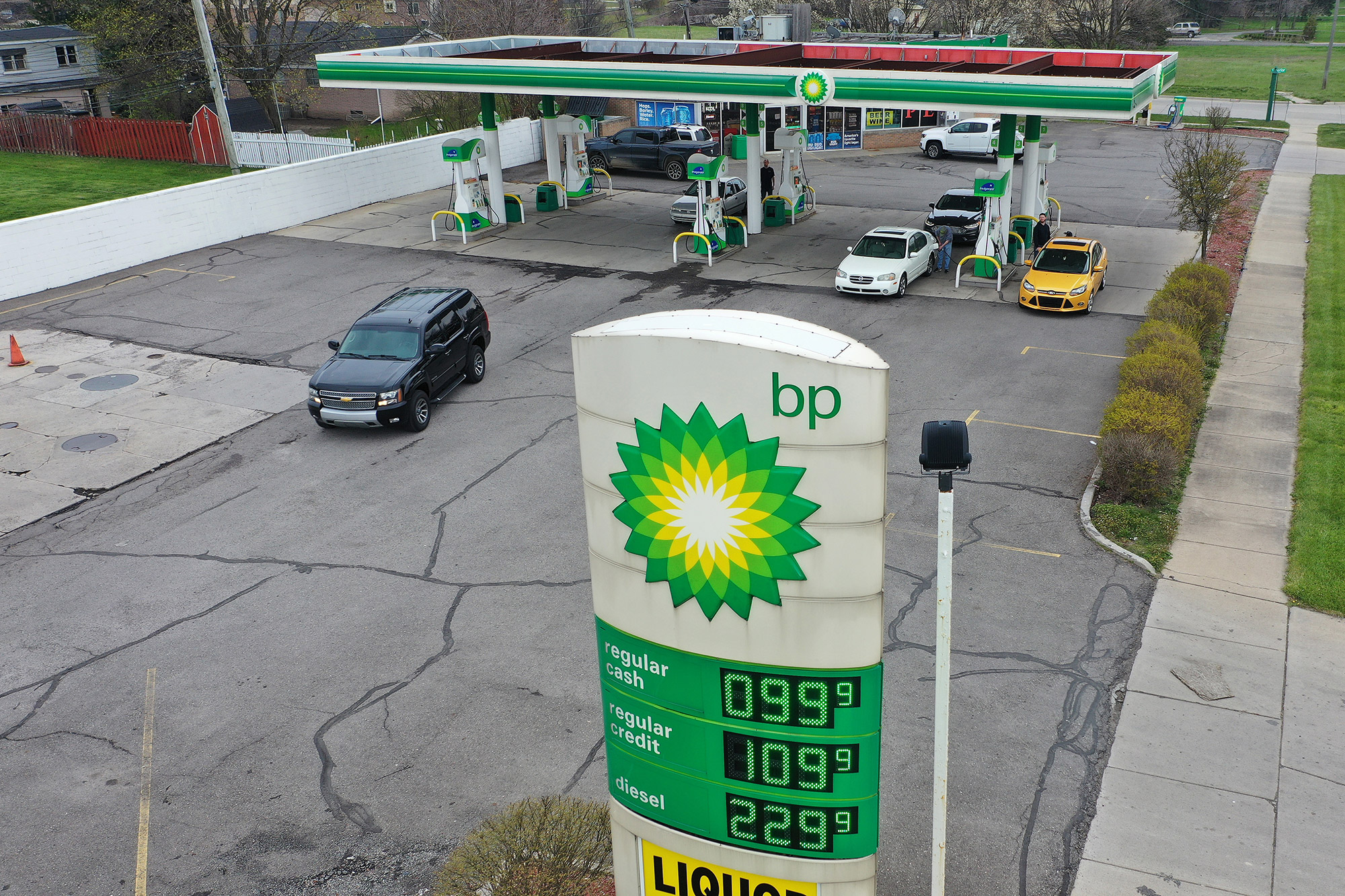 People get gas at a BP station in Southgate, Michigan, on April 24.
