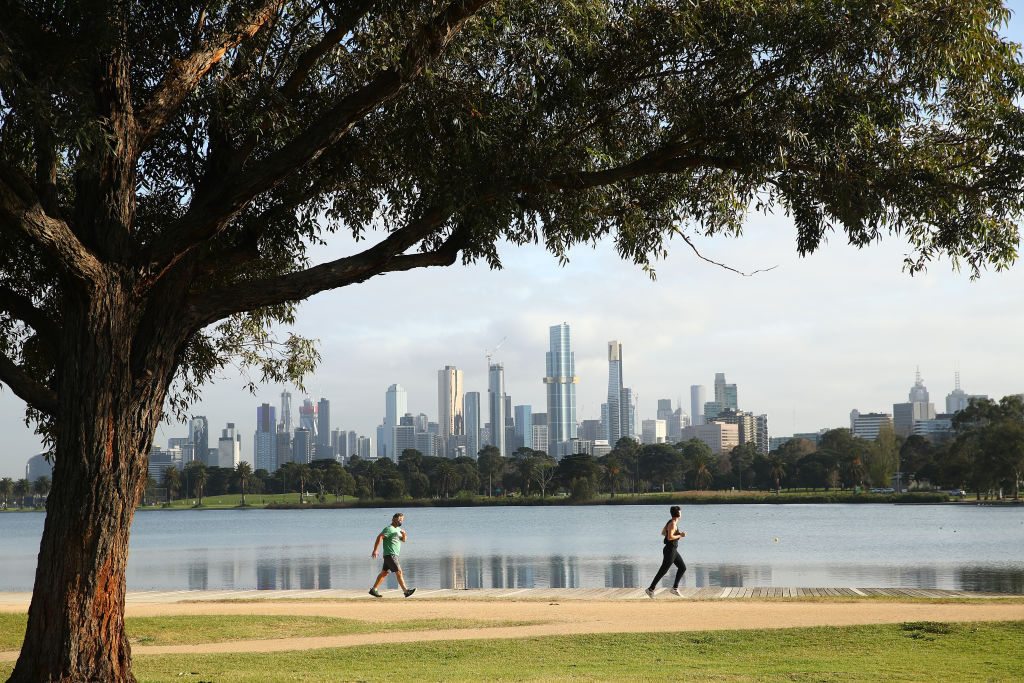 People exercise in Melbourne, Victoria, Australia, on September 9 as the city remains under stage 4 lockdown restrictions.