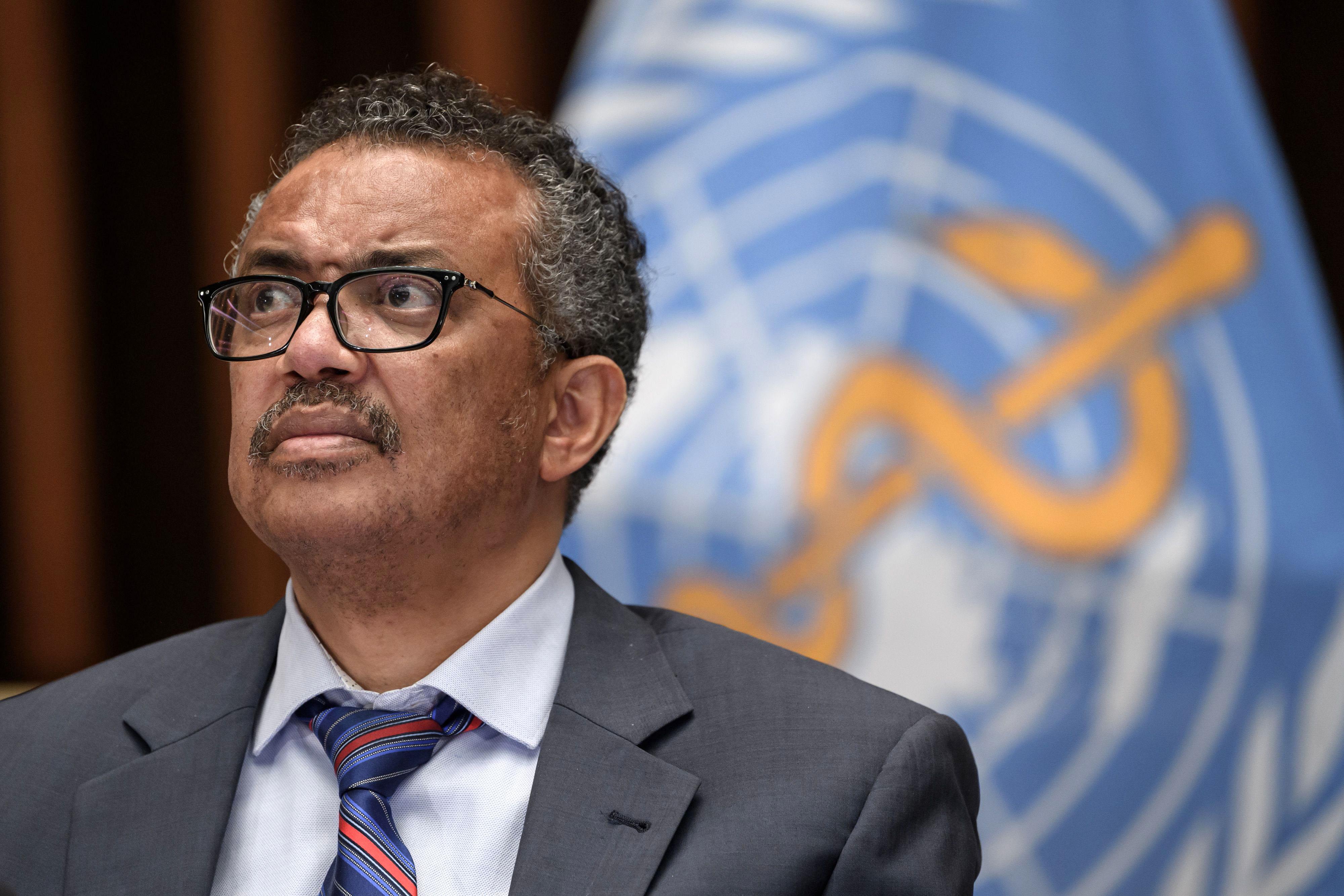 Tedros Adhanom Ghebreyesus, director-general of the World Health Organization, attends a press conference on July 3 in Geneva, Switzerland.
