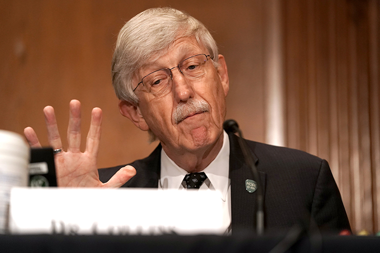 Dr. Francis Collins, Director of the National Institutes of Health, is seen after a Senate Health, Education, Labor, and Pensions Committee hearing to discuss vaccines and protecting public health during the coronavirus pandemic on September 9, 2020 in Washington DC.